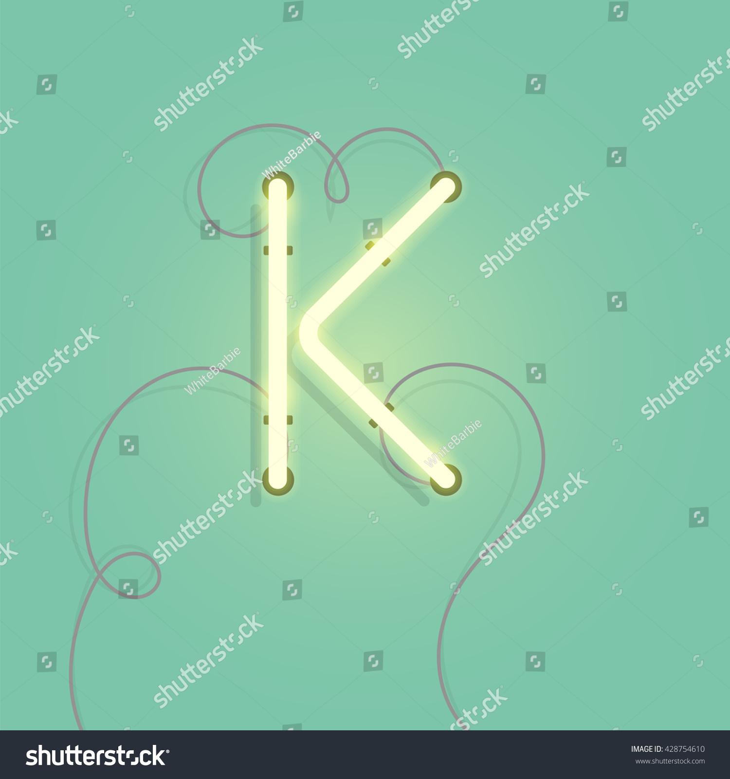 Neon Character K Vector Illustration Glowing Stock Vector (2018 ...
