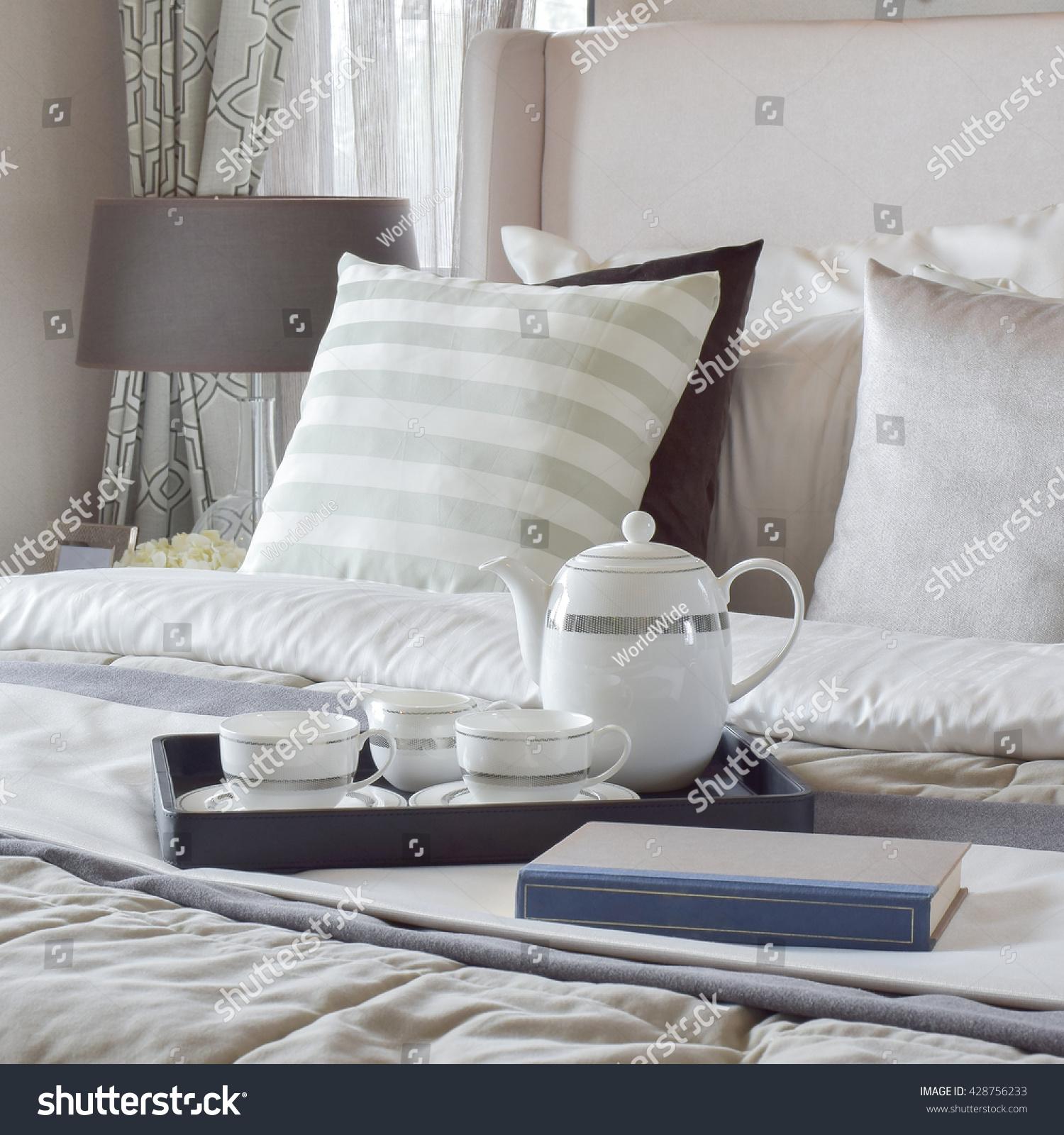 Decorative Tray Book Tea Set On Stock Photo 428756233