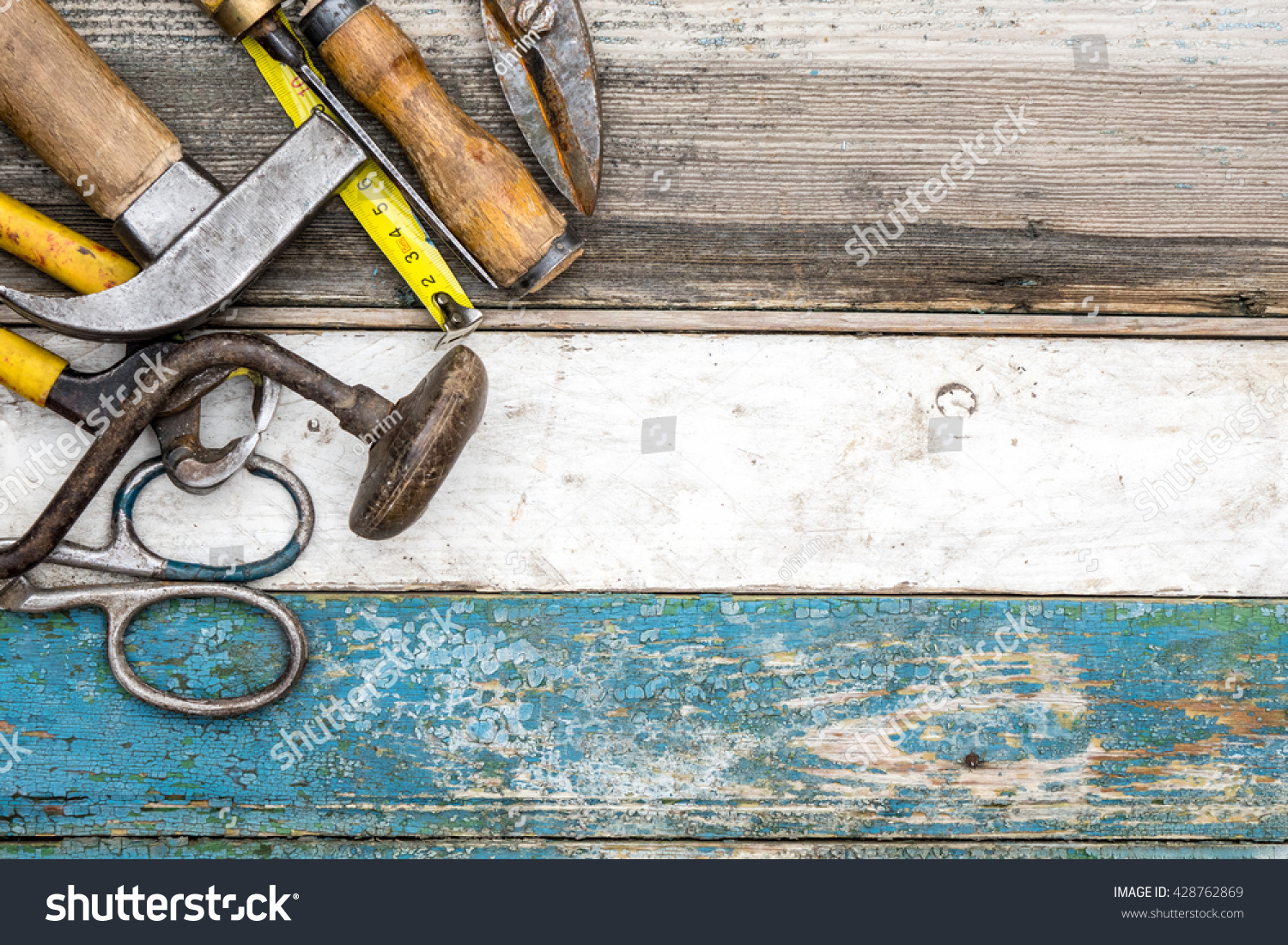 Hammer, screwdriver, wrench, chisel, tape measure and other workshop ...