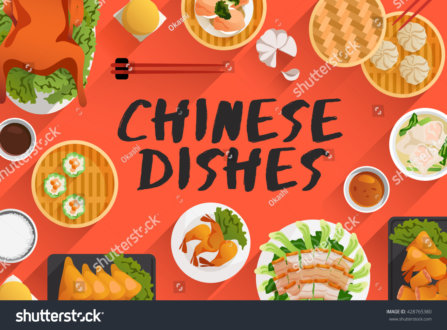 chinese food food illustration top view stock vector royalty free