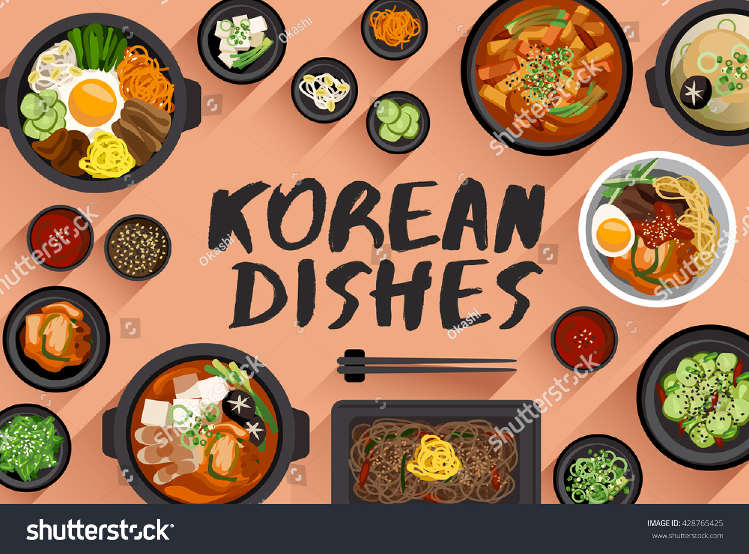 korean food food illustration top view stock vector royalty free