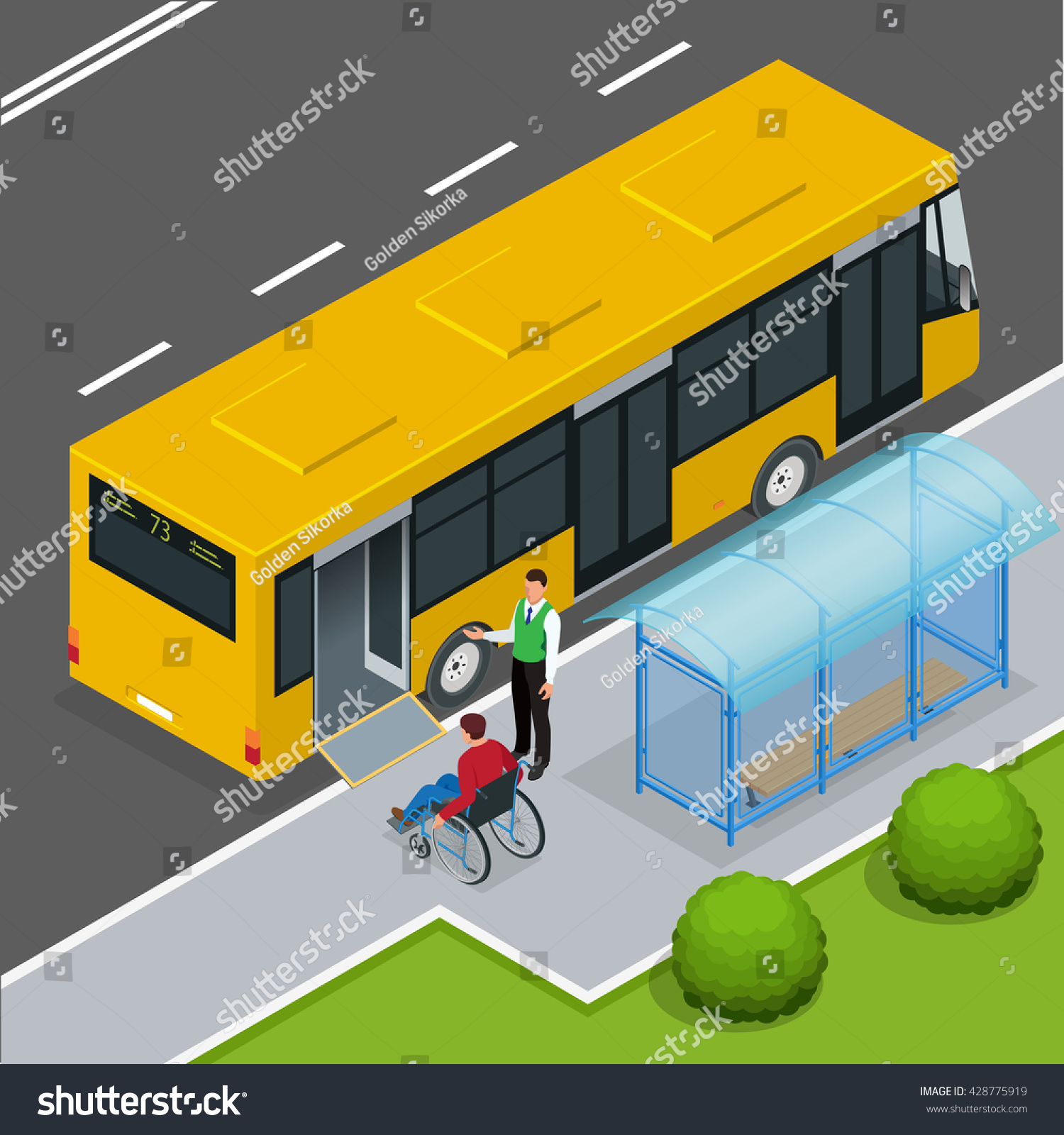 Access ramp for disabled persons and babies in a bus Man in a wheelchair at a bus stop Driver helping Man enter into the Bus via wheelchair ramp Flat 3D vector isometric illustration
