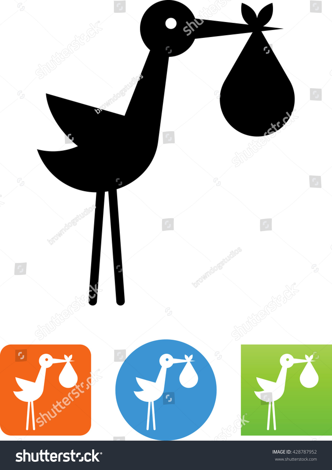 Stork Baby Birth Announcement Icon Vector 428787952 – Stork Birth Announcement
