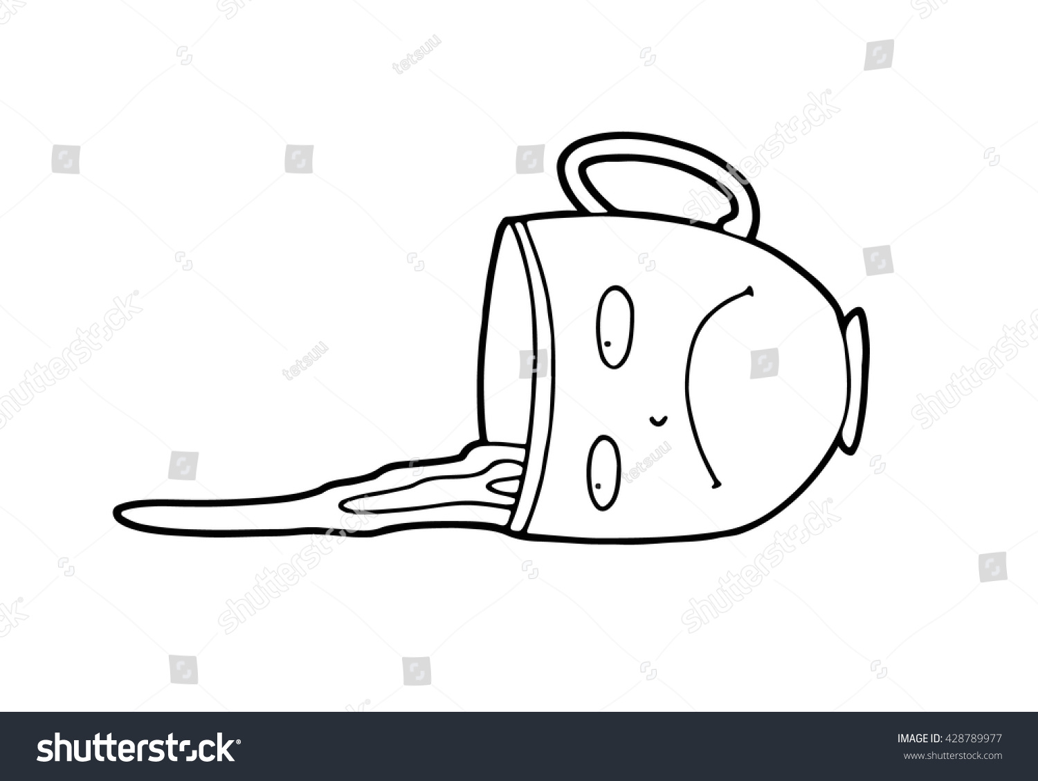 An Upset Sad Pessimistic Cartoon Cup Which Accidentally Was Pushed By Awkward Guest During A Tea Party Lies On Table In Puddle Of Spilled And