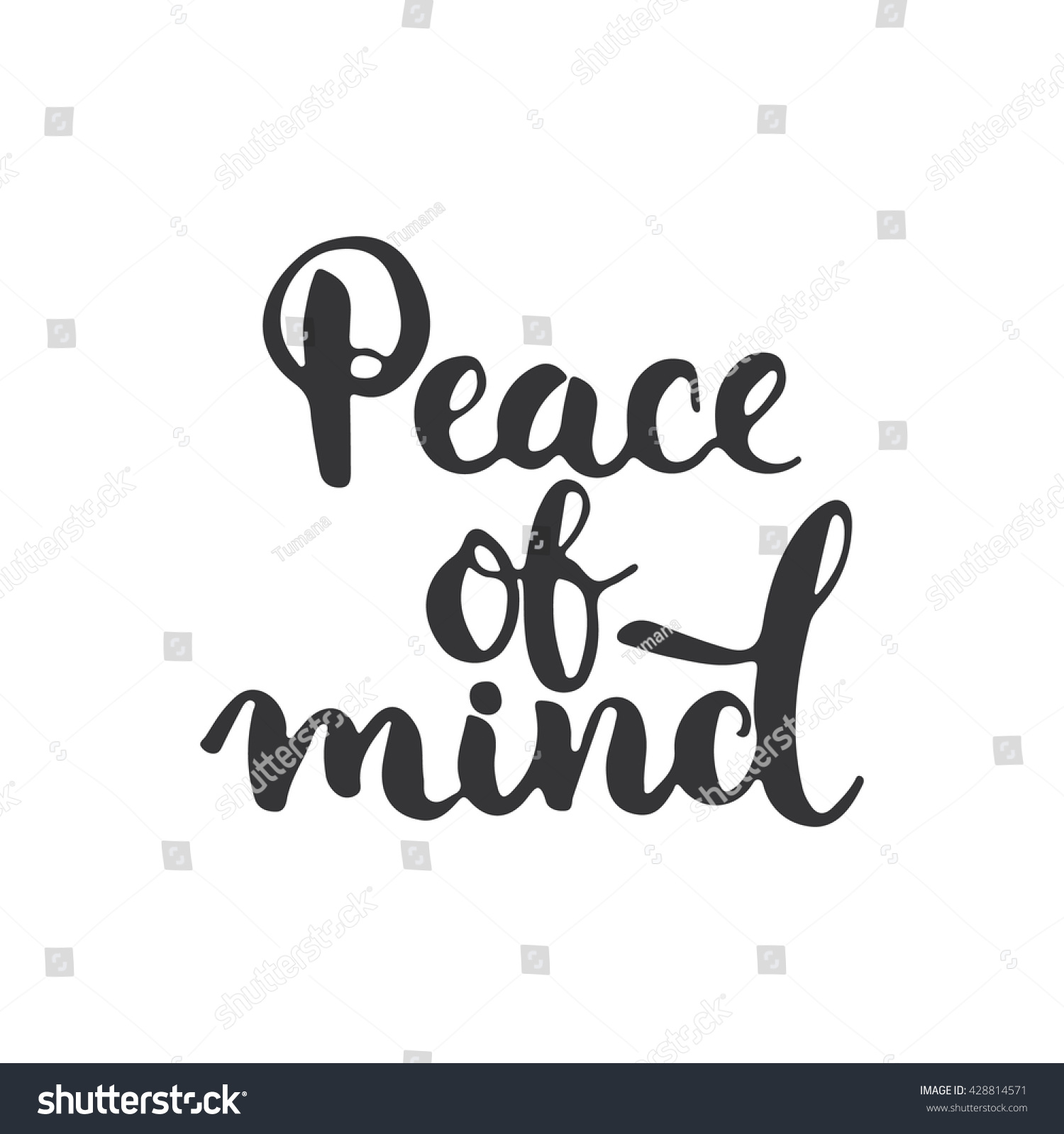 Peace Mind Hand Drawn Lettering Phrase Stock Vector Royalty Free