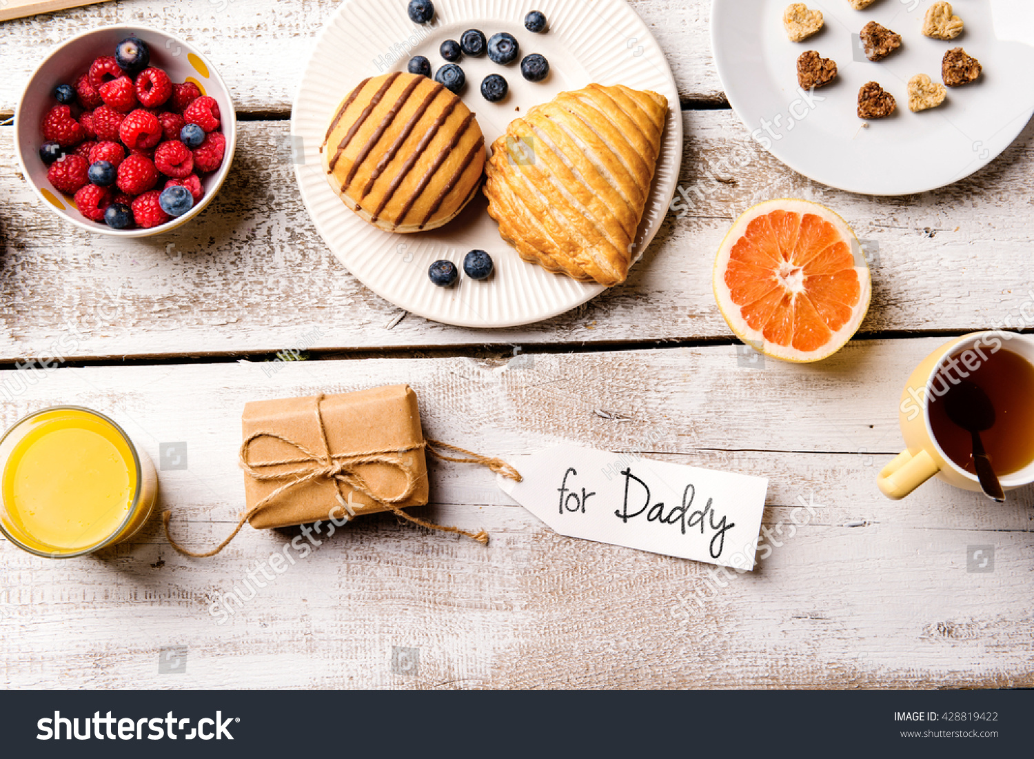 Fathers day composition Breakfast meal Gift with For Daddy tag