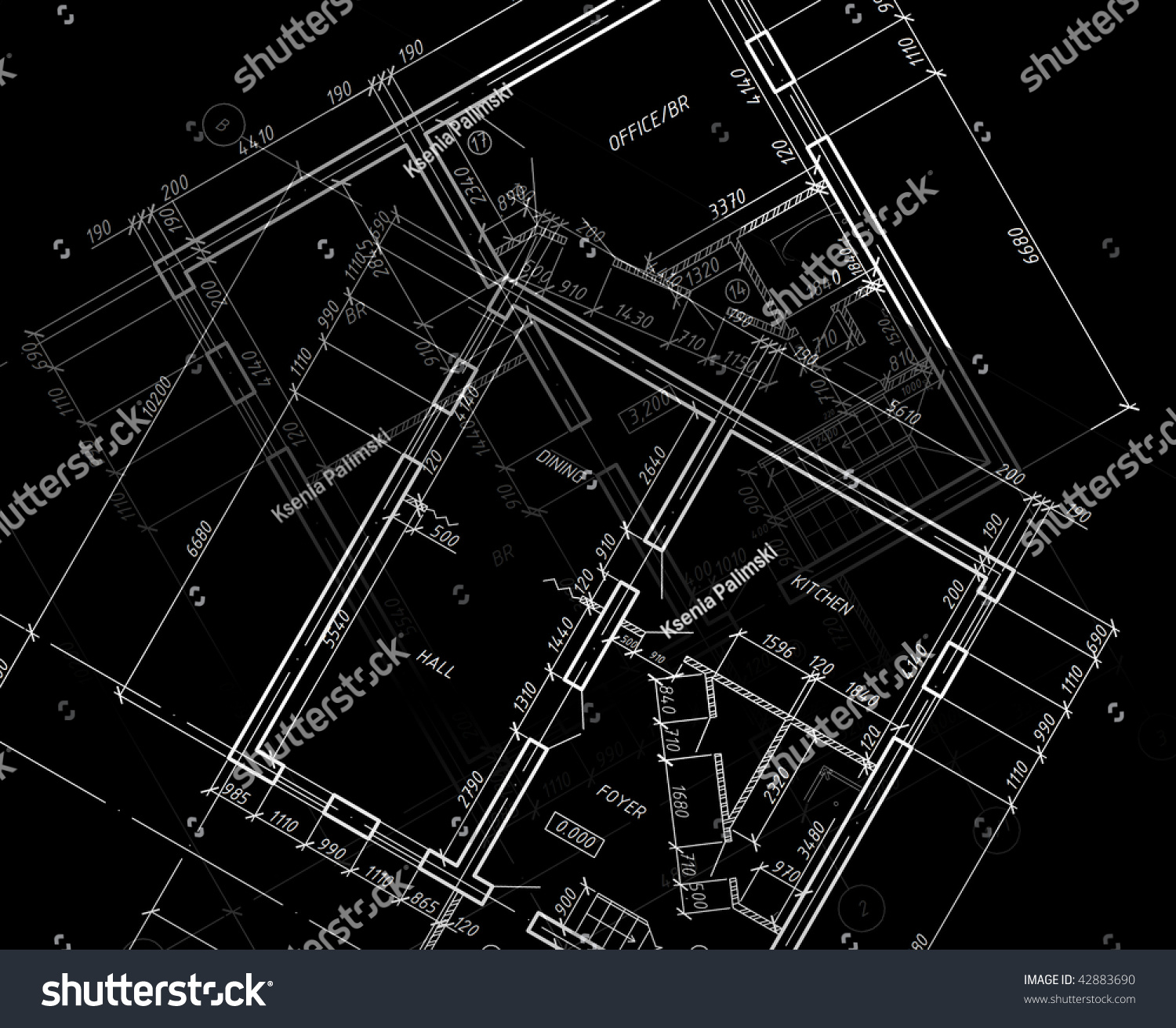 Blueprint cad architectural plan drawing white stock for Architecture blueprint