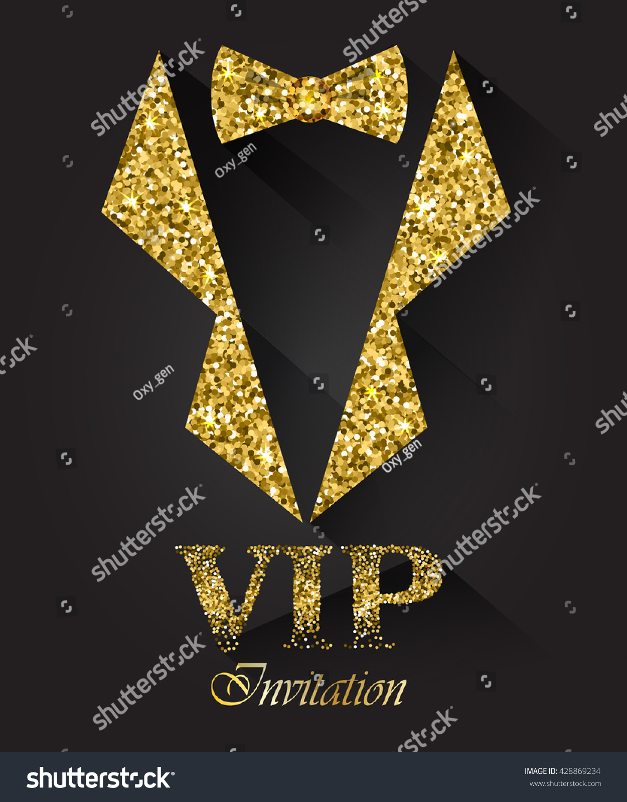 Black Vip Background Golden Tuxedo Bow Stock Vector ...