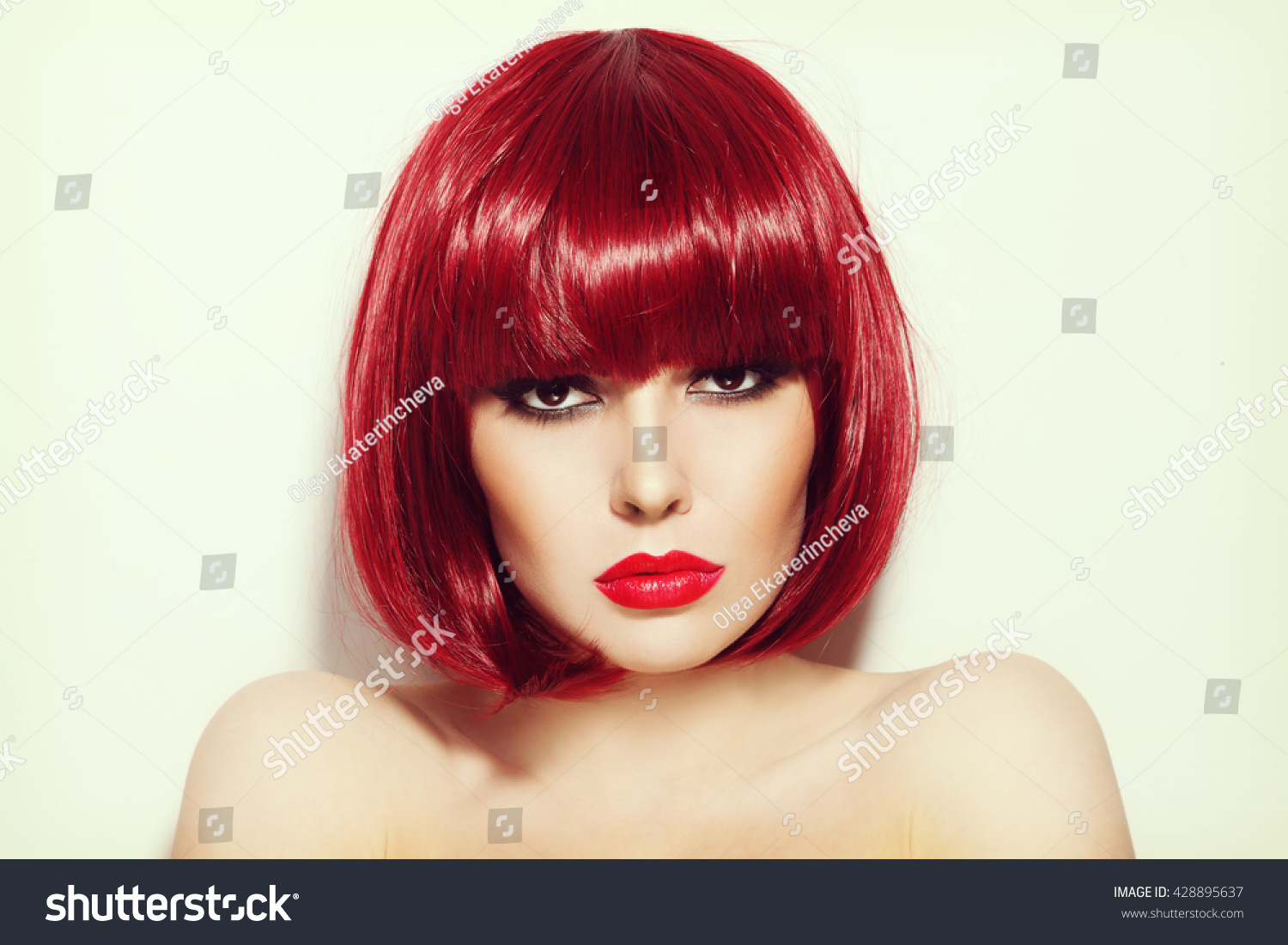 Vintage Style Portrait Of Young Beautiful Sexy Red Haired Girl With