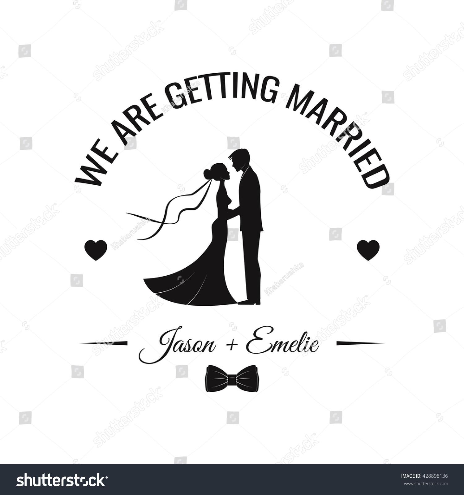 Wedding invitation vector silhouette bride groom stock vector wedding invitation vector silhouette bride and groom wedding couple save the date stopboris Images