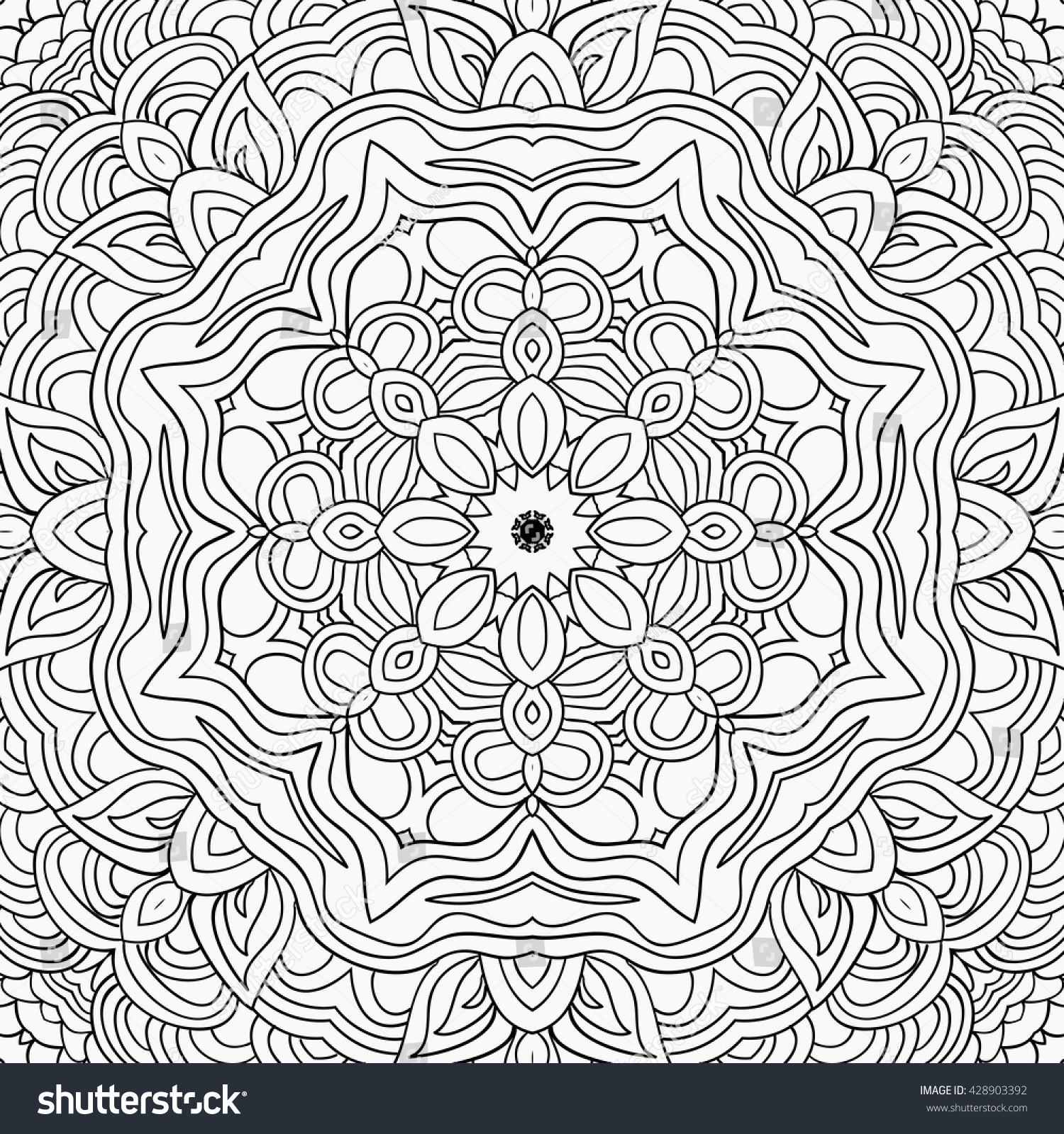 Uncolored Symmetric Tracery Colouring Can Be Stock Vector 428903392 ...