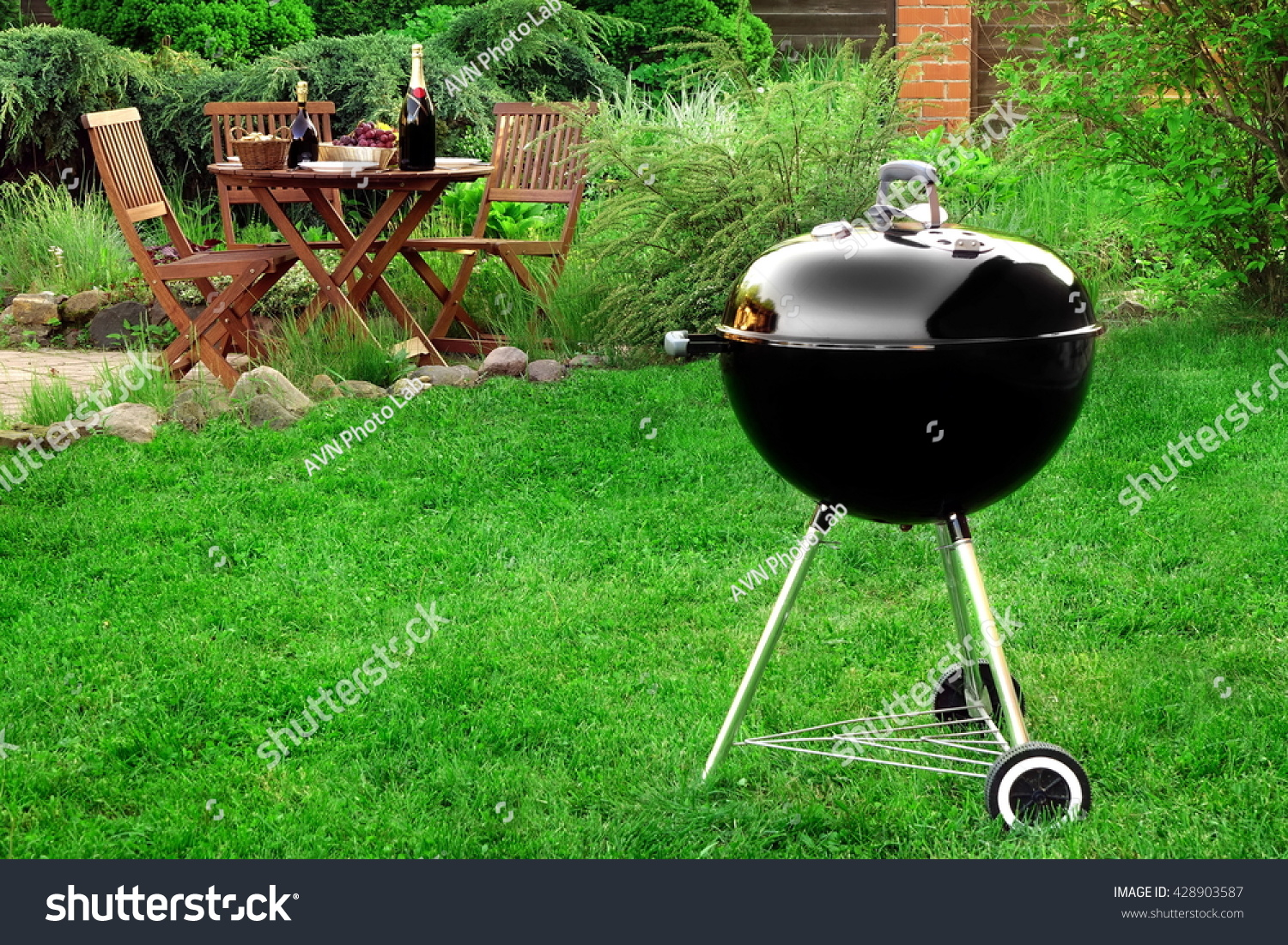 scene family barbecue grill party picnic stock photo 428903587