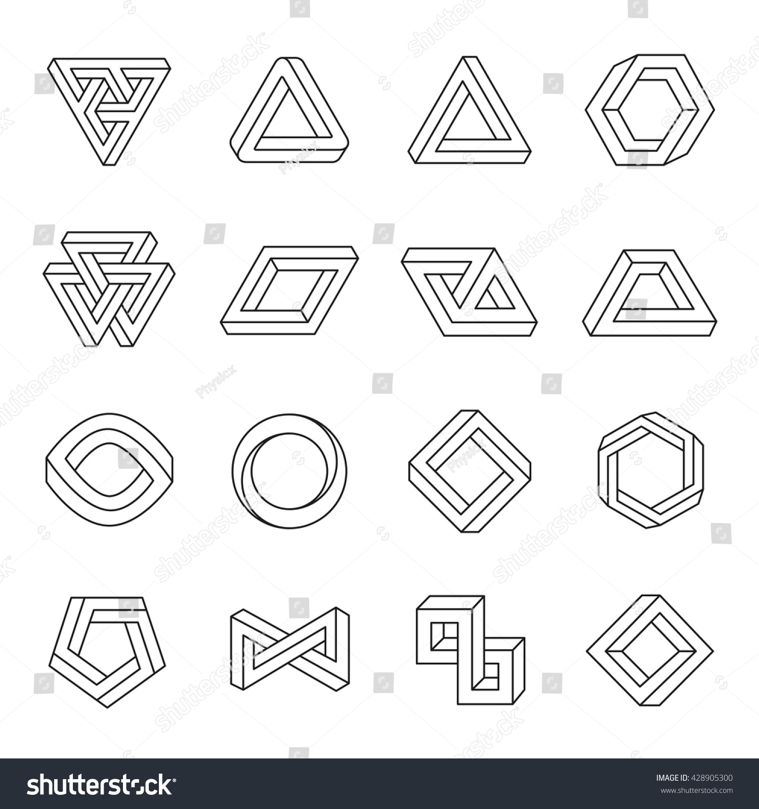 Set Impossible Shapes Optical Illusion Vector Stock Vector