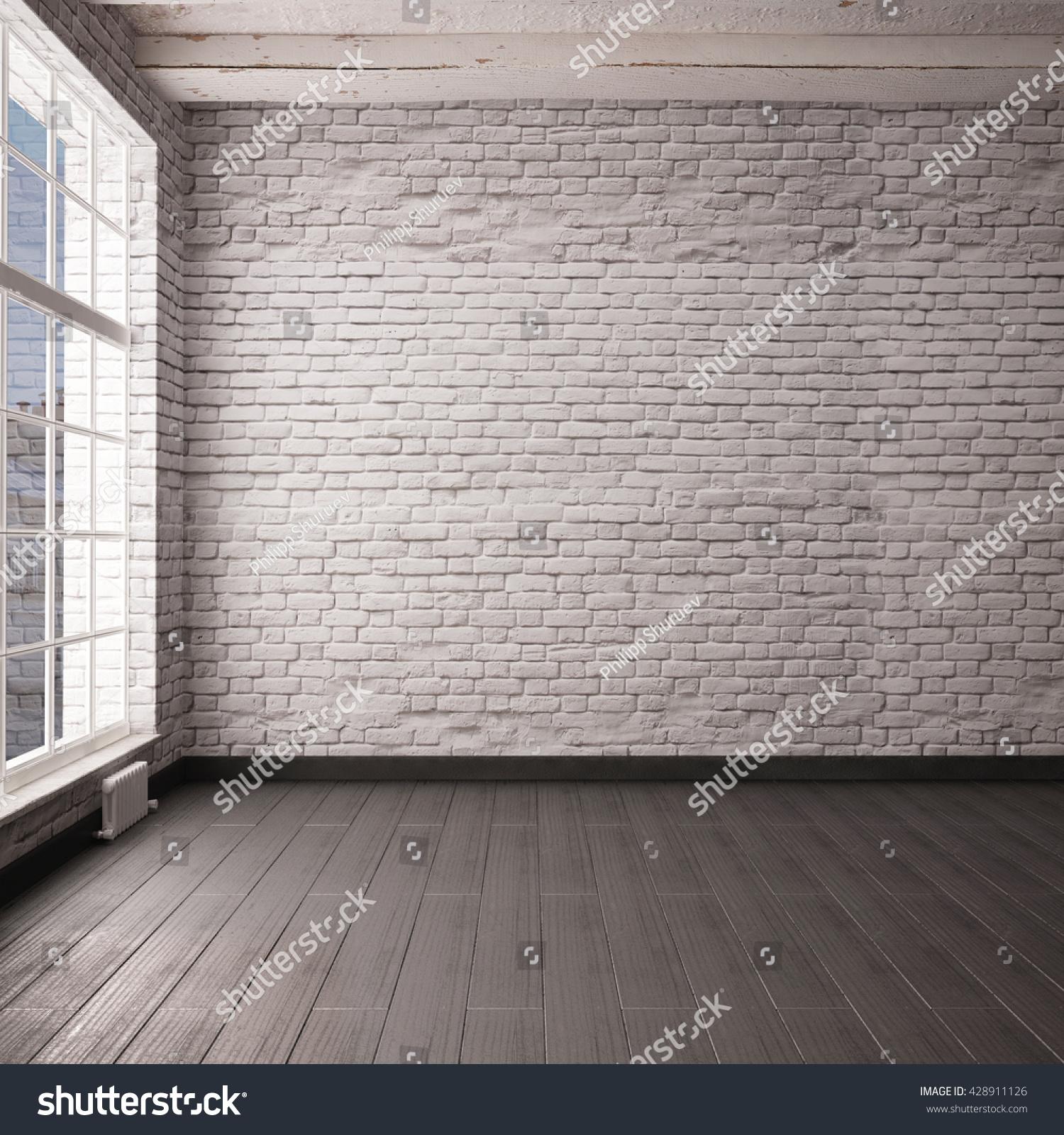 mockup empty interior loft style 3d stock illustration 428911126