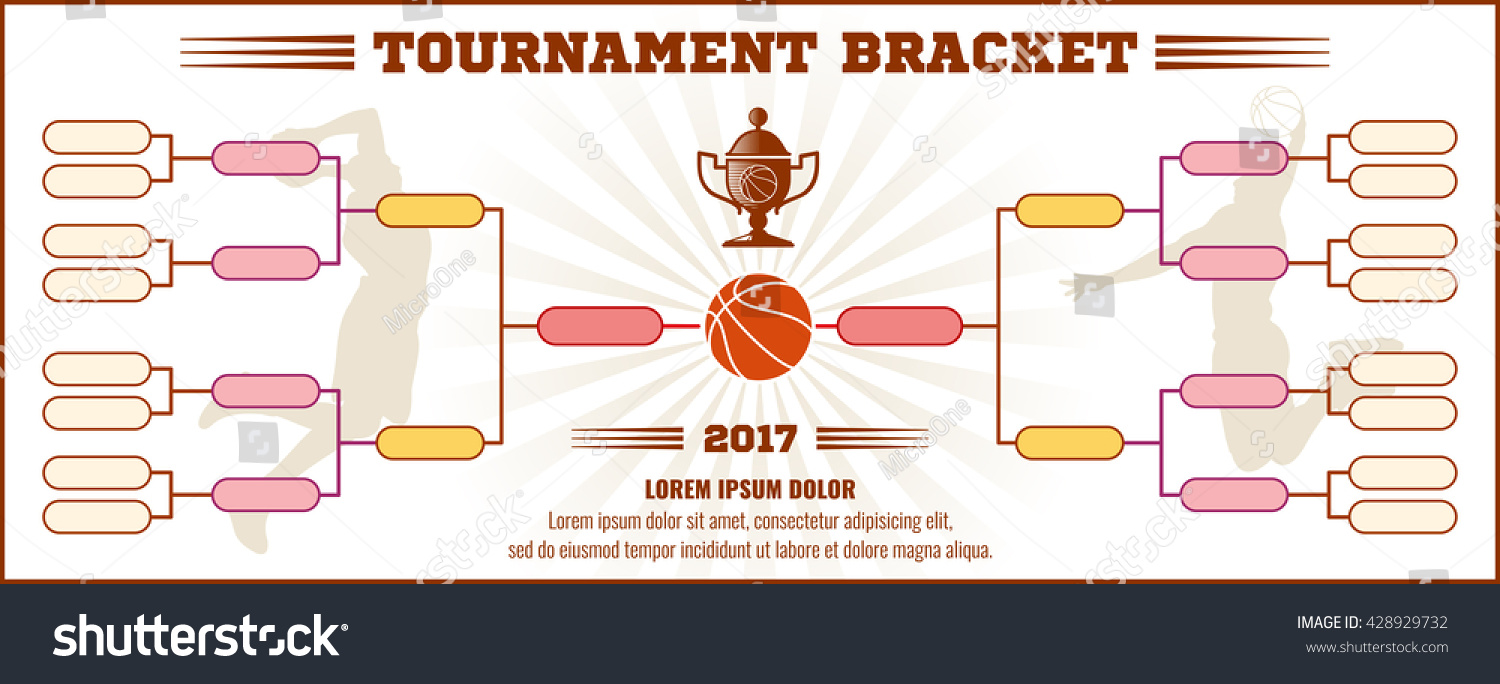 Basketball tournament bracket vector mockup infographic for Sports infographics templates