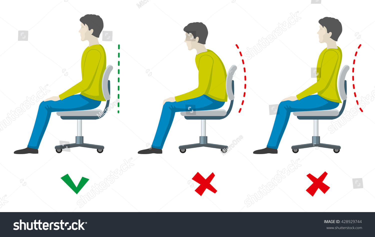 Wrong Right Spine Sitting Posture Vector Stock Vector