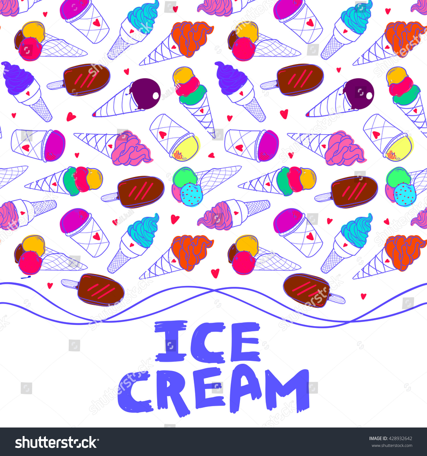 Sweet Ice Cream Flat Colorful Seamless Pattern Vector: Seamless Horizontal Border Colorful Ice Cream Stock Vector