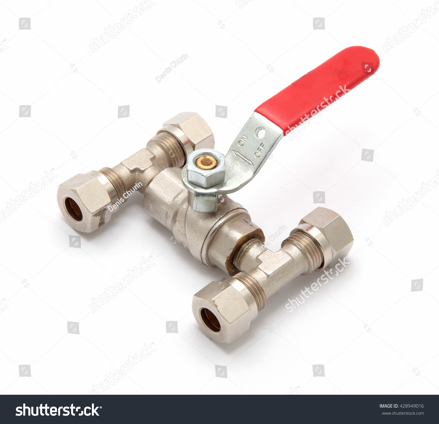 Metal Industrial Water Tap Red Lever Stock Photo (Edit Now ...