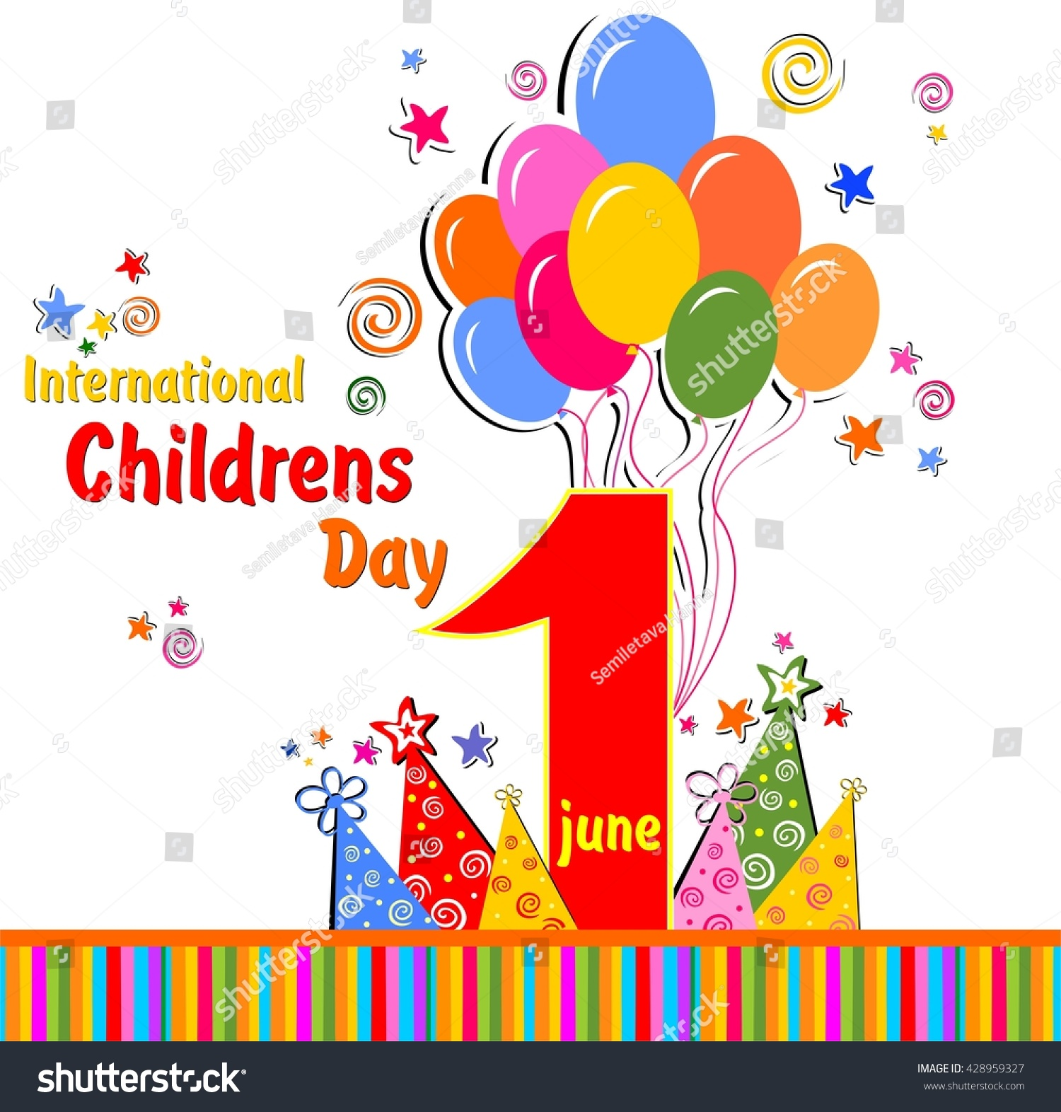 1 June International Childrens Day Background Stock Illustration
