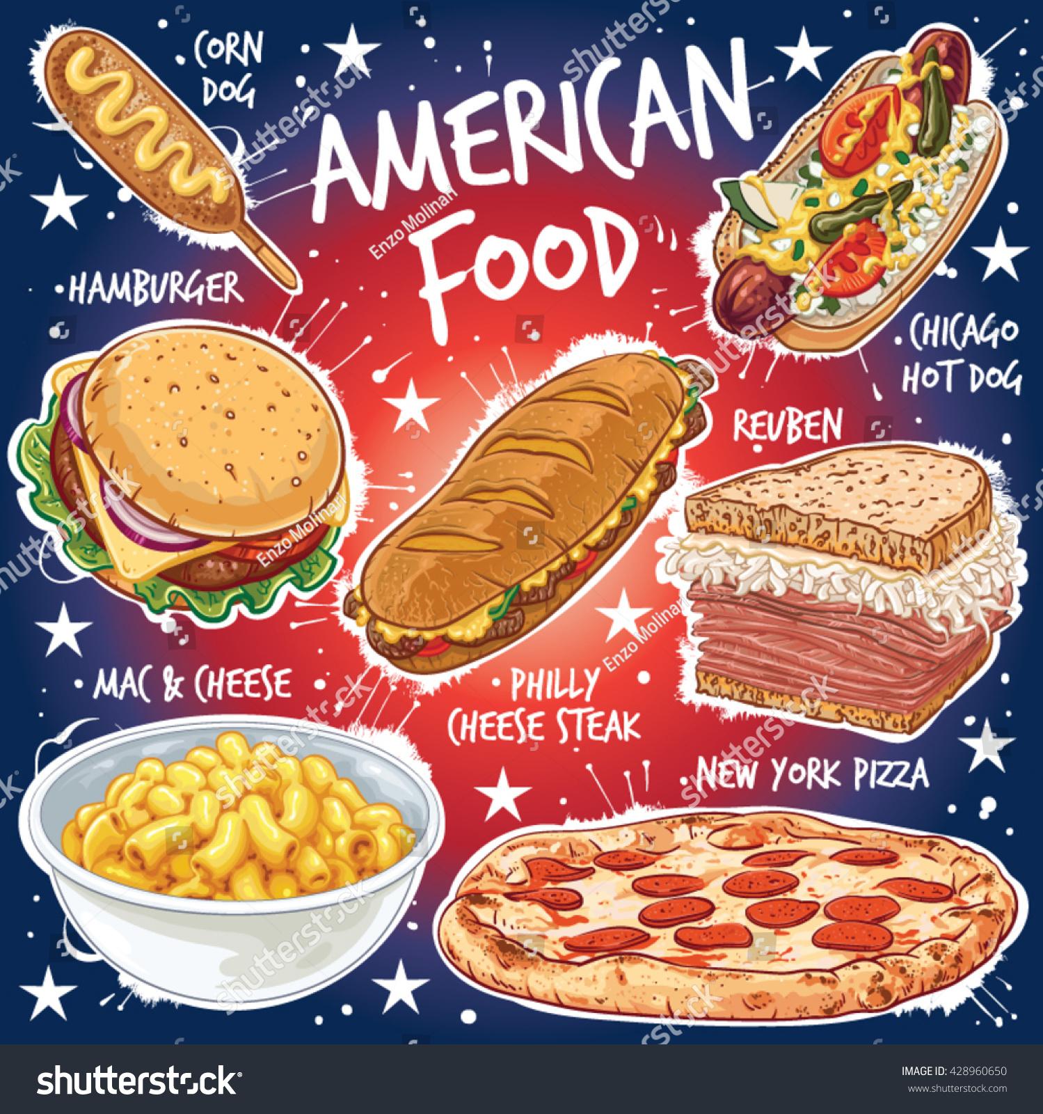 Hand drawn vector illustration seven popular stock vector for American cuisine chicago