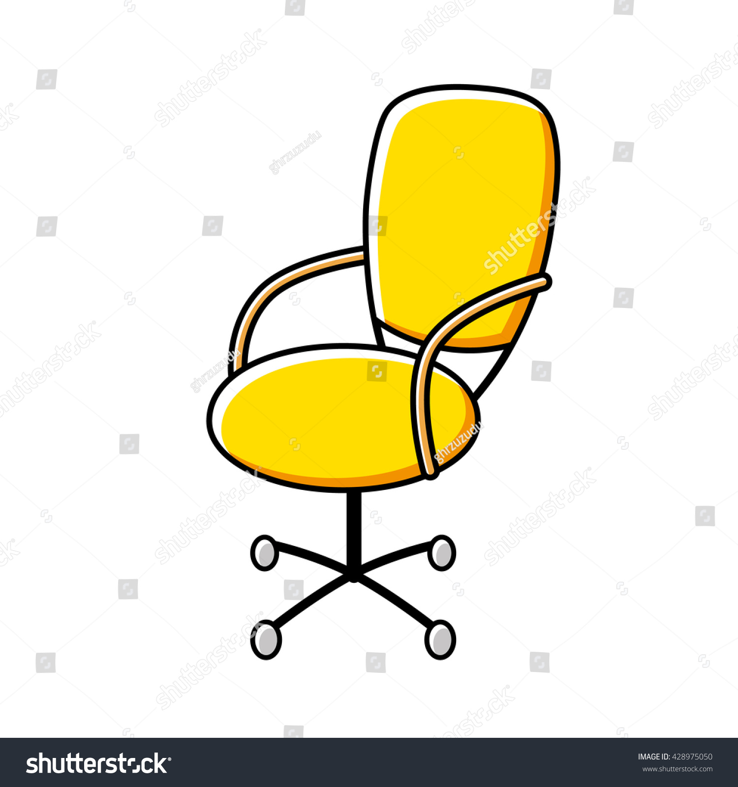 Yellow fice Chair Cartoon Icon Stock Vector Shutterstock