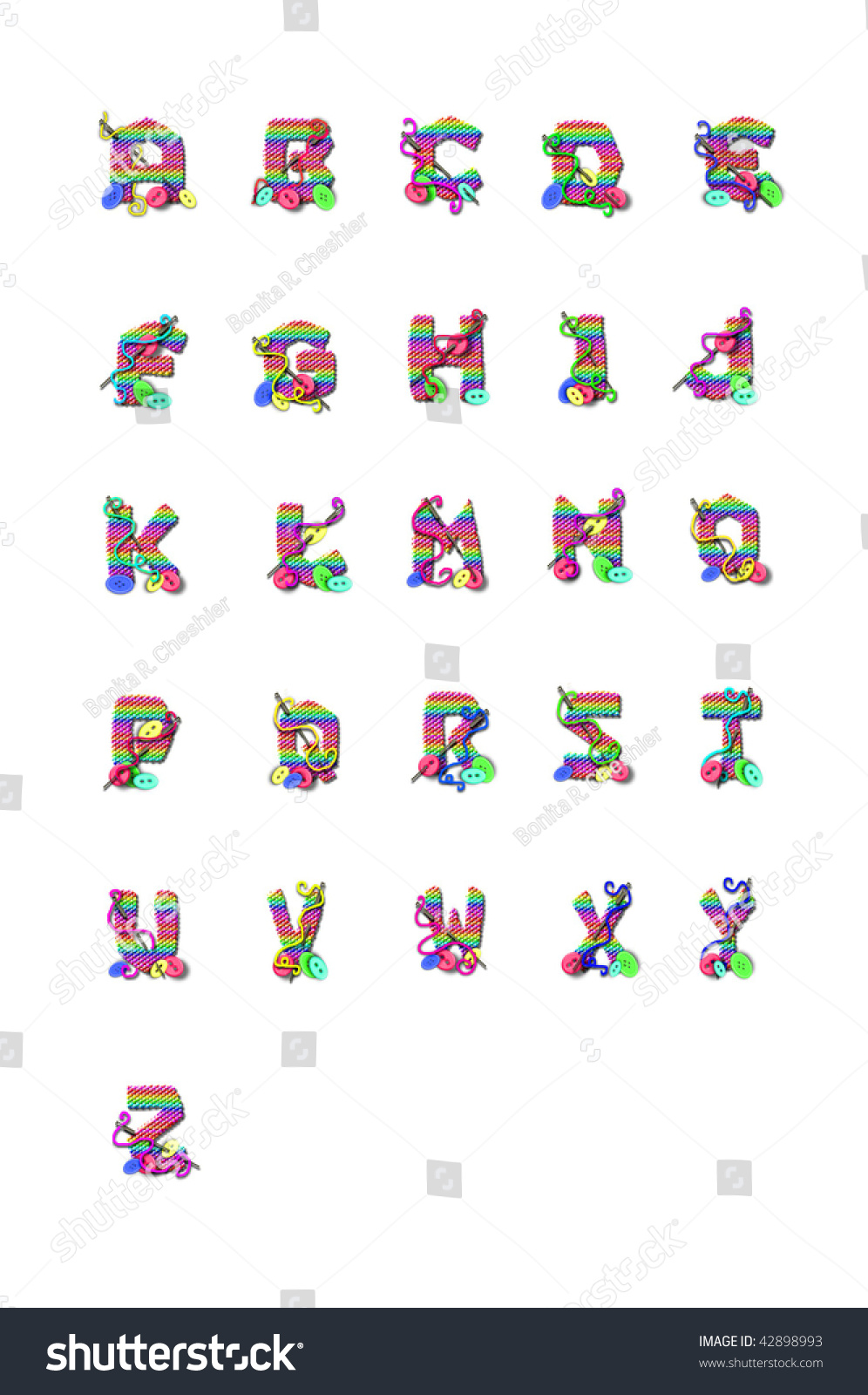 Alphabet Letters Z Shaped Out Knitting Stock Illustration 42898993 ...