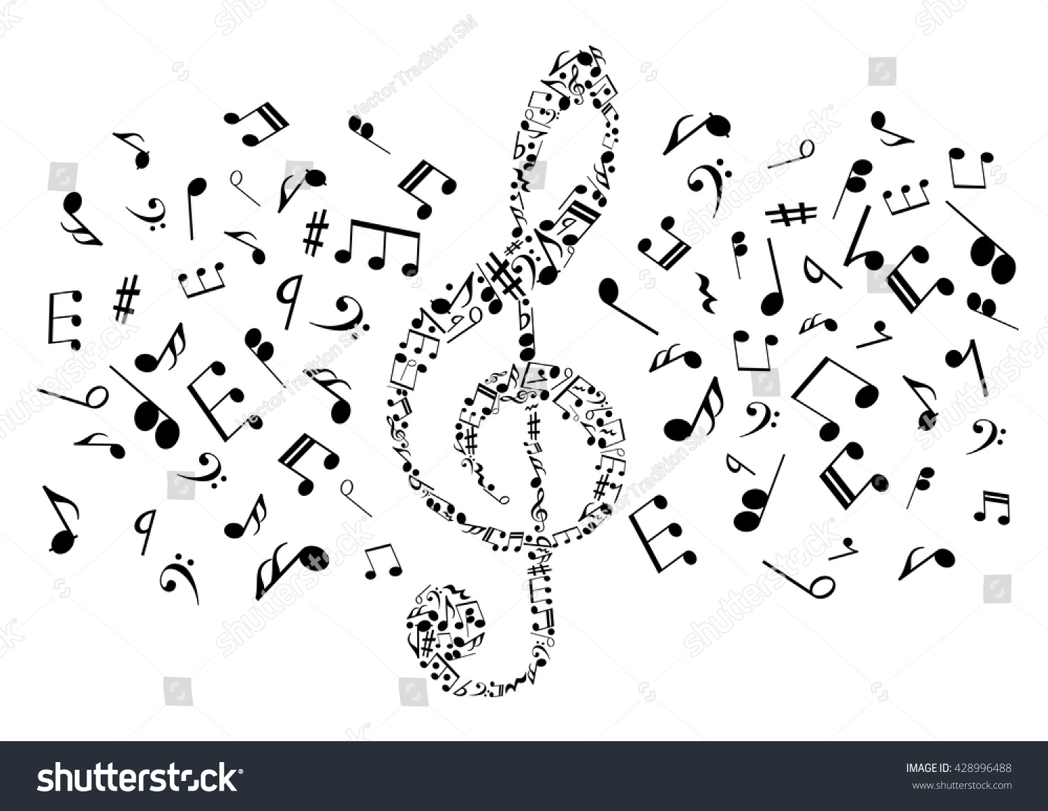 Flowing musical notes arranged into treble stock vector 428996488 flowing musical notes arranged into treble clef symbol for music and art concept design with black biocorpaavc Gallery