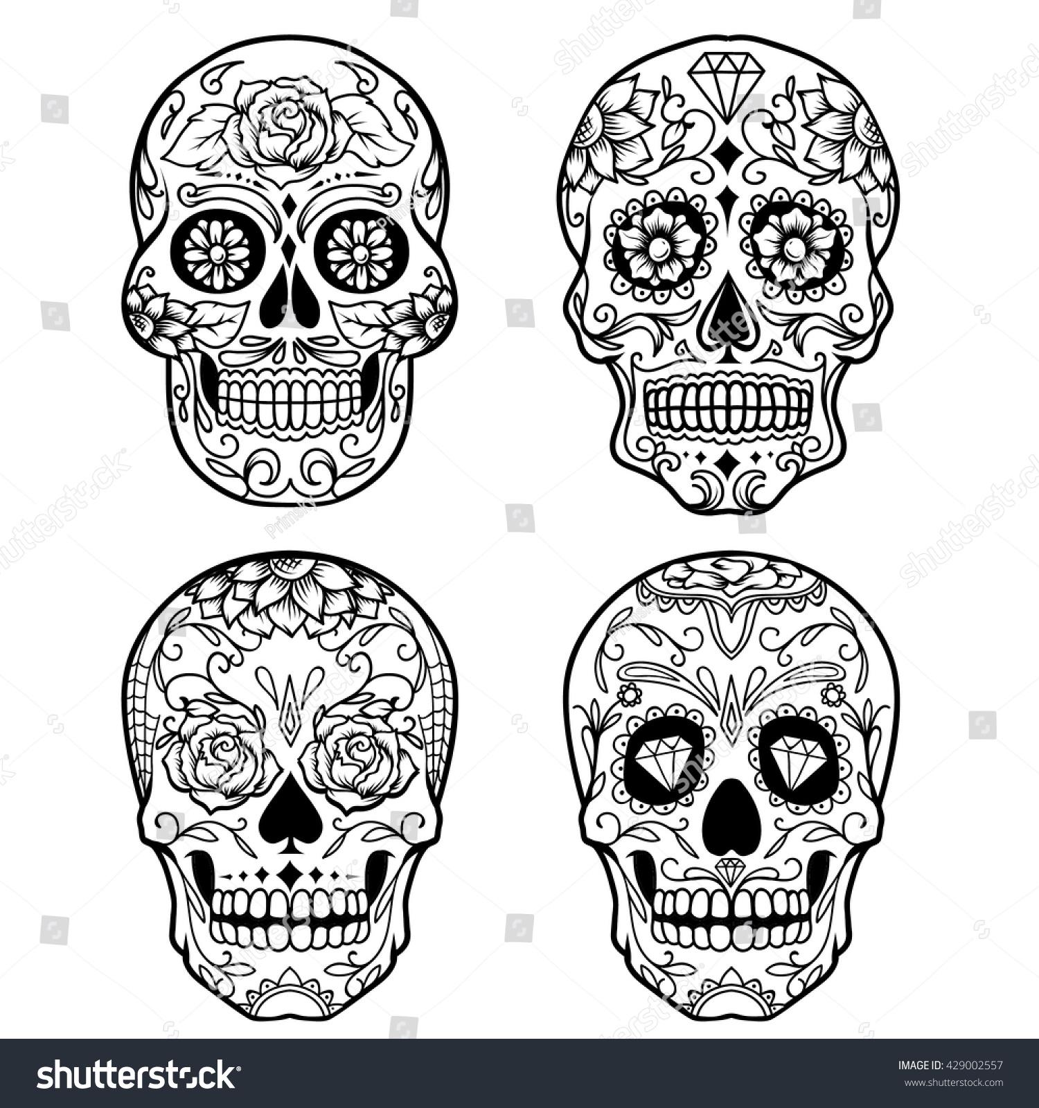 day dead sugar skull outline tattoo のベクター画像素材