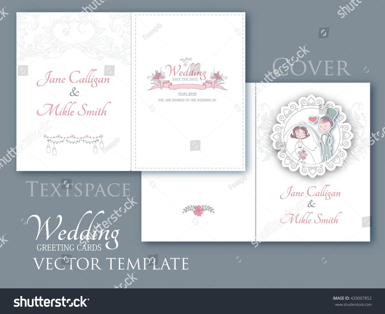 Vintage Wedding Invitation Template Elegant Cartoon Stock Vector