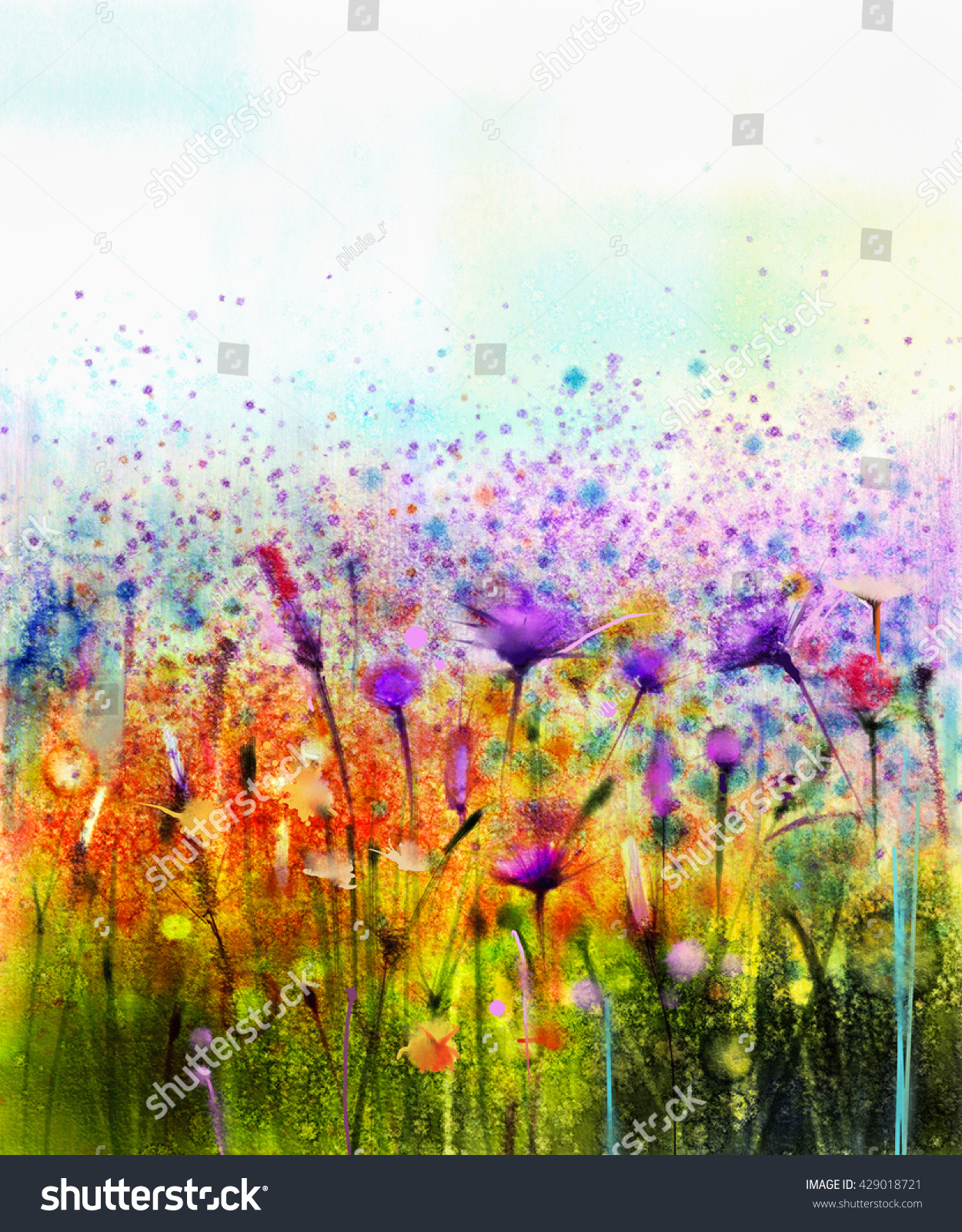 Abstract watercolor painting purple cosmos for Spring flowers watercolor