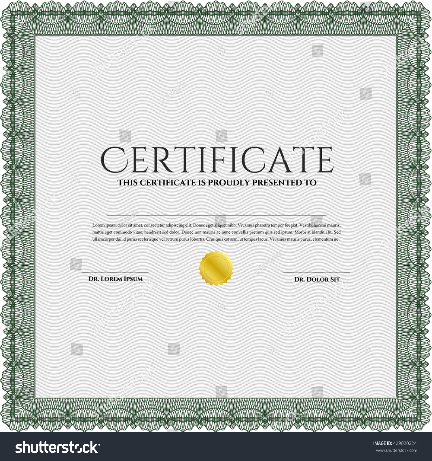 Certificate Diploma Template Good Design Border Stock Vector