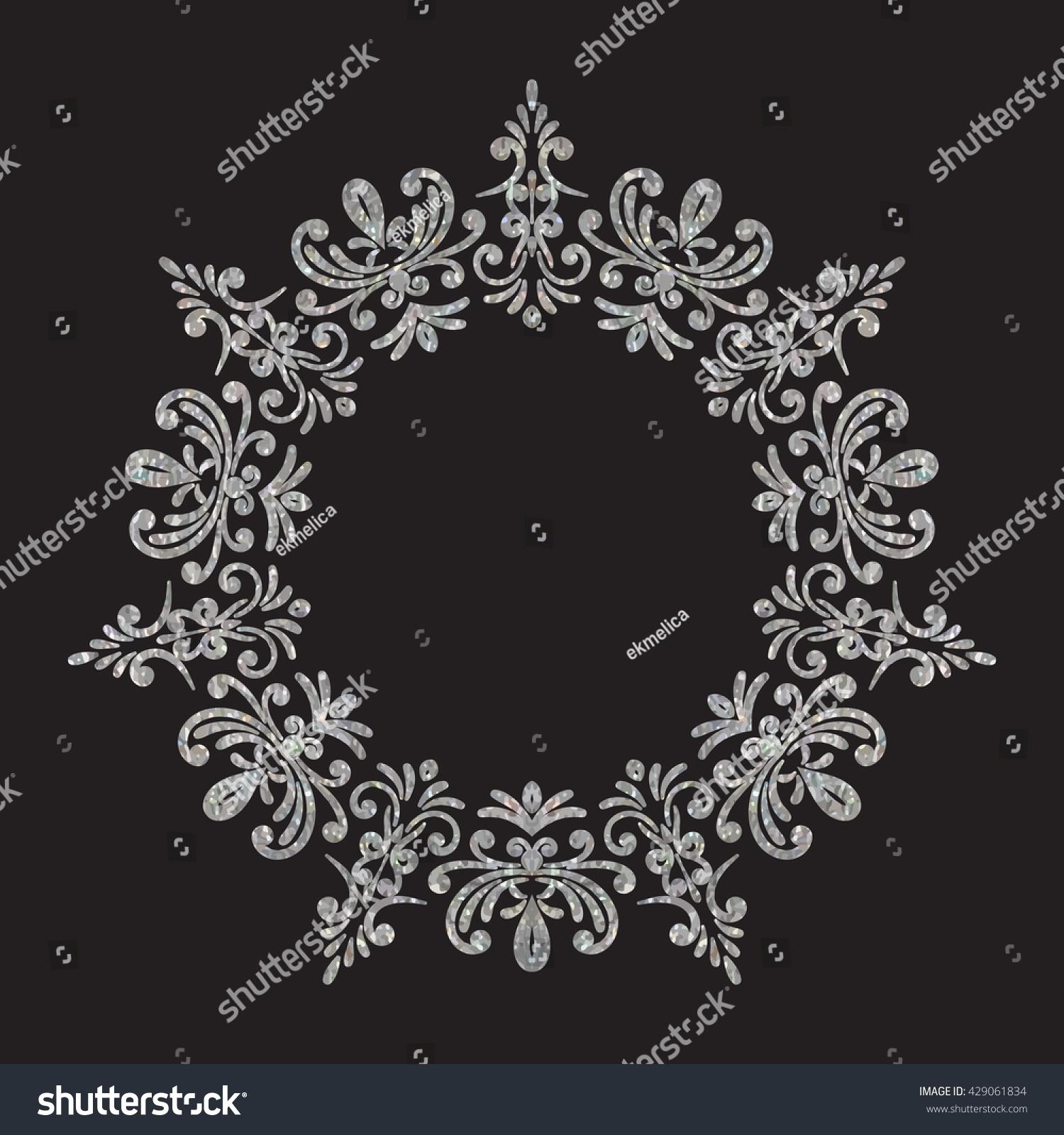 Elegant luxury vintage circle silver floral frame on black background. Refined  hand drawn border template 15bbf34023