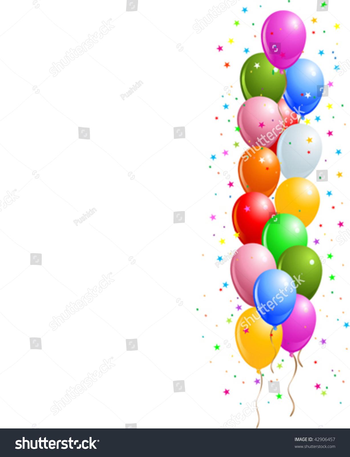Realistic Vector Illustration Shiny Balloons Border Stock ...
