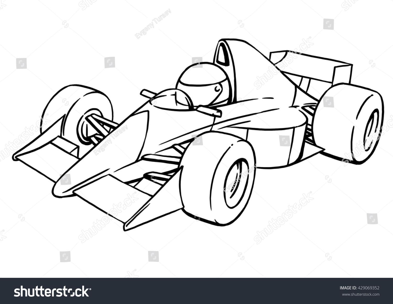 childs funny cartoon formula race car stock illustration 429069352