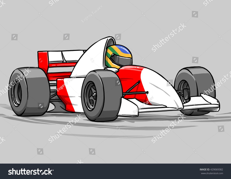 childs funny cartoon formula race car stock illustration 429069382