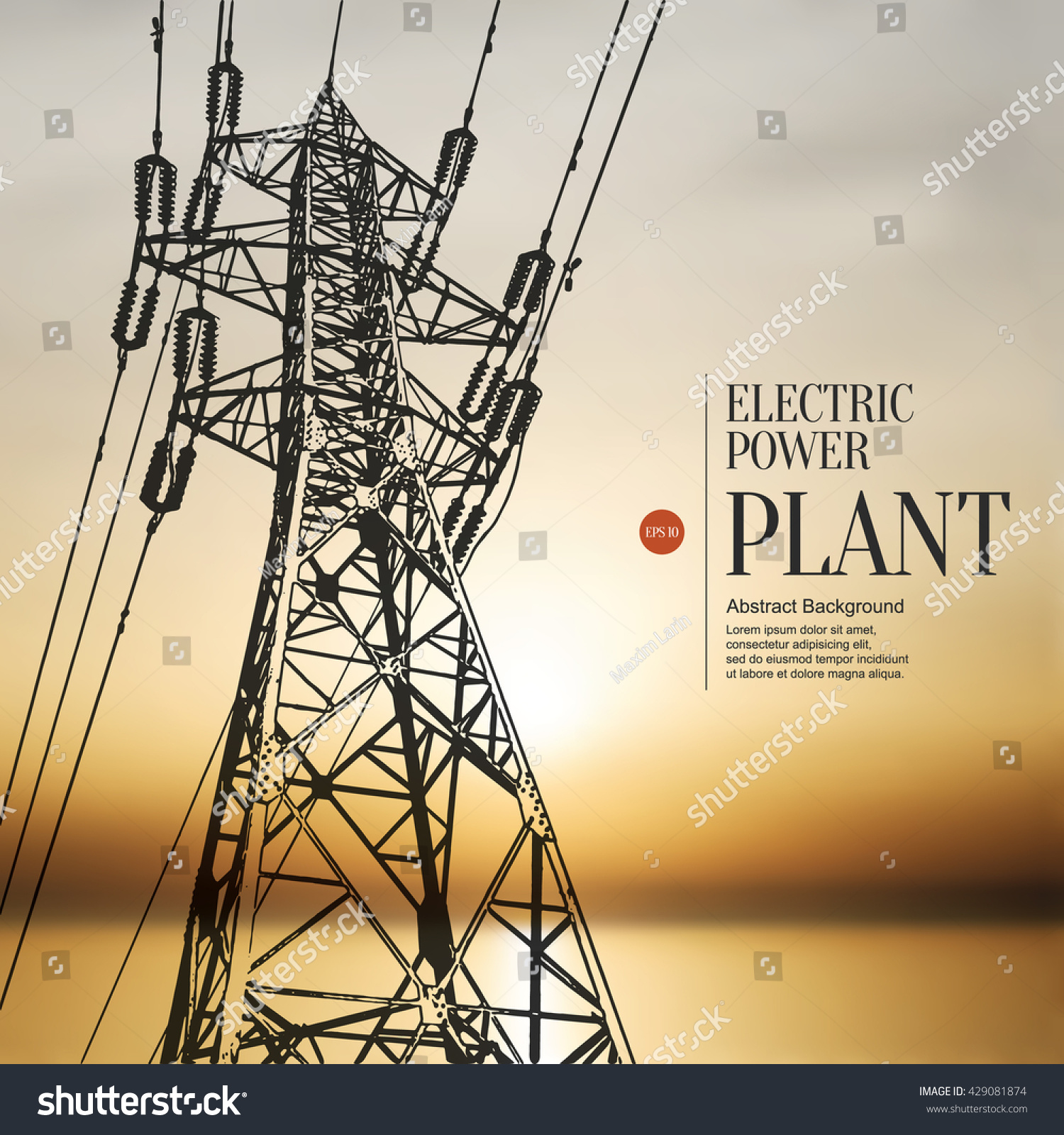 Abstract Sketch Stylized Background Electric Power Stock Vector What Is A Electrical Plant