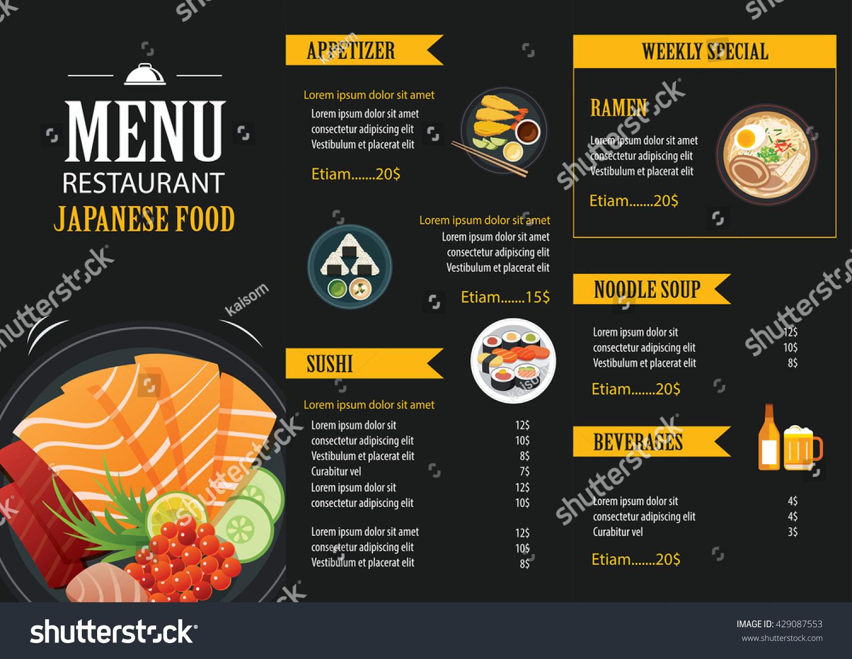 Japanese food menu restaurant brochure design stock vector