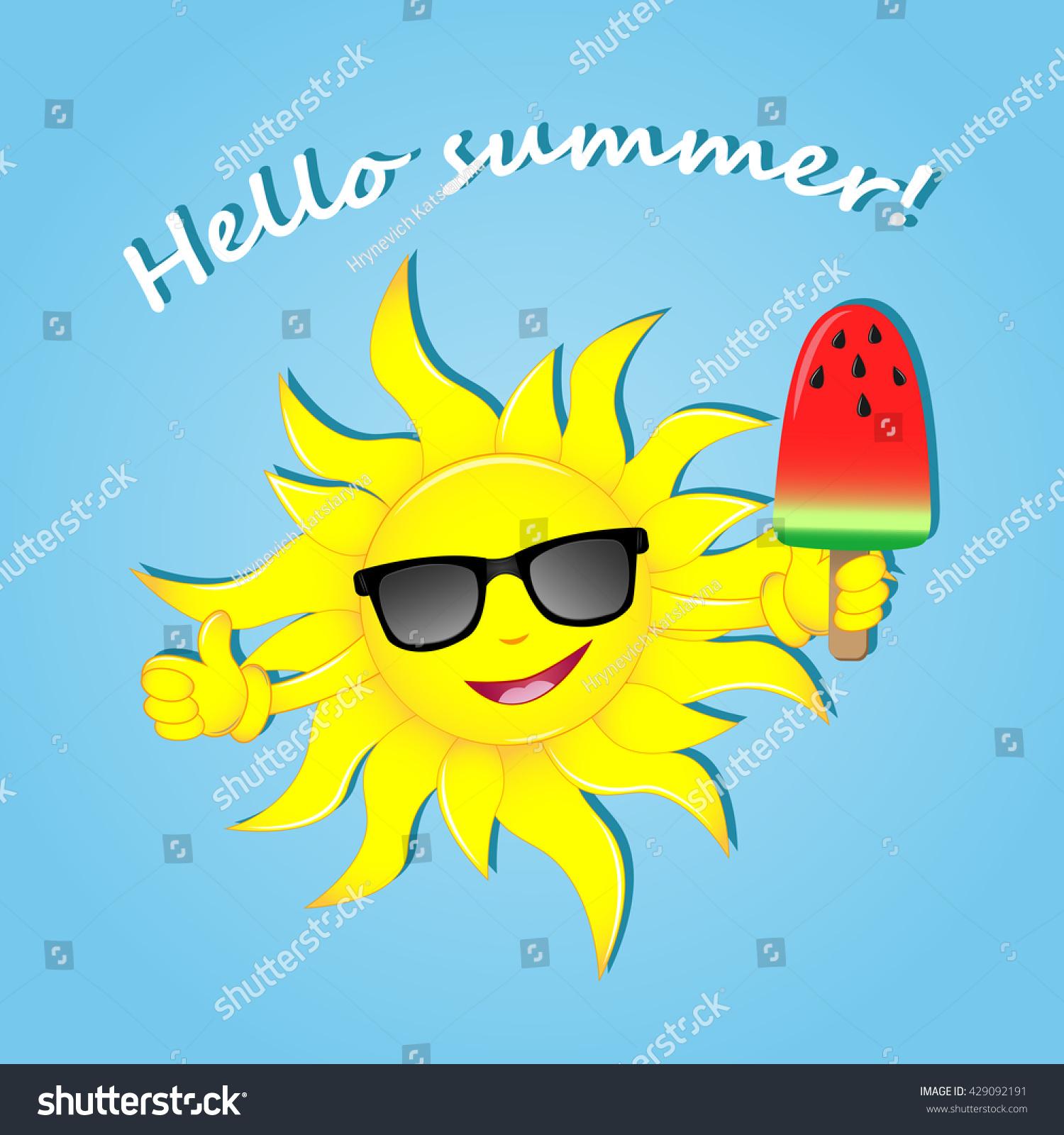 Hello Summer Happy Summer Vector Illustration Stock Vector 429092191 - Shutte...