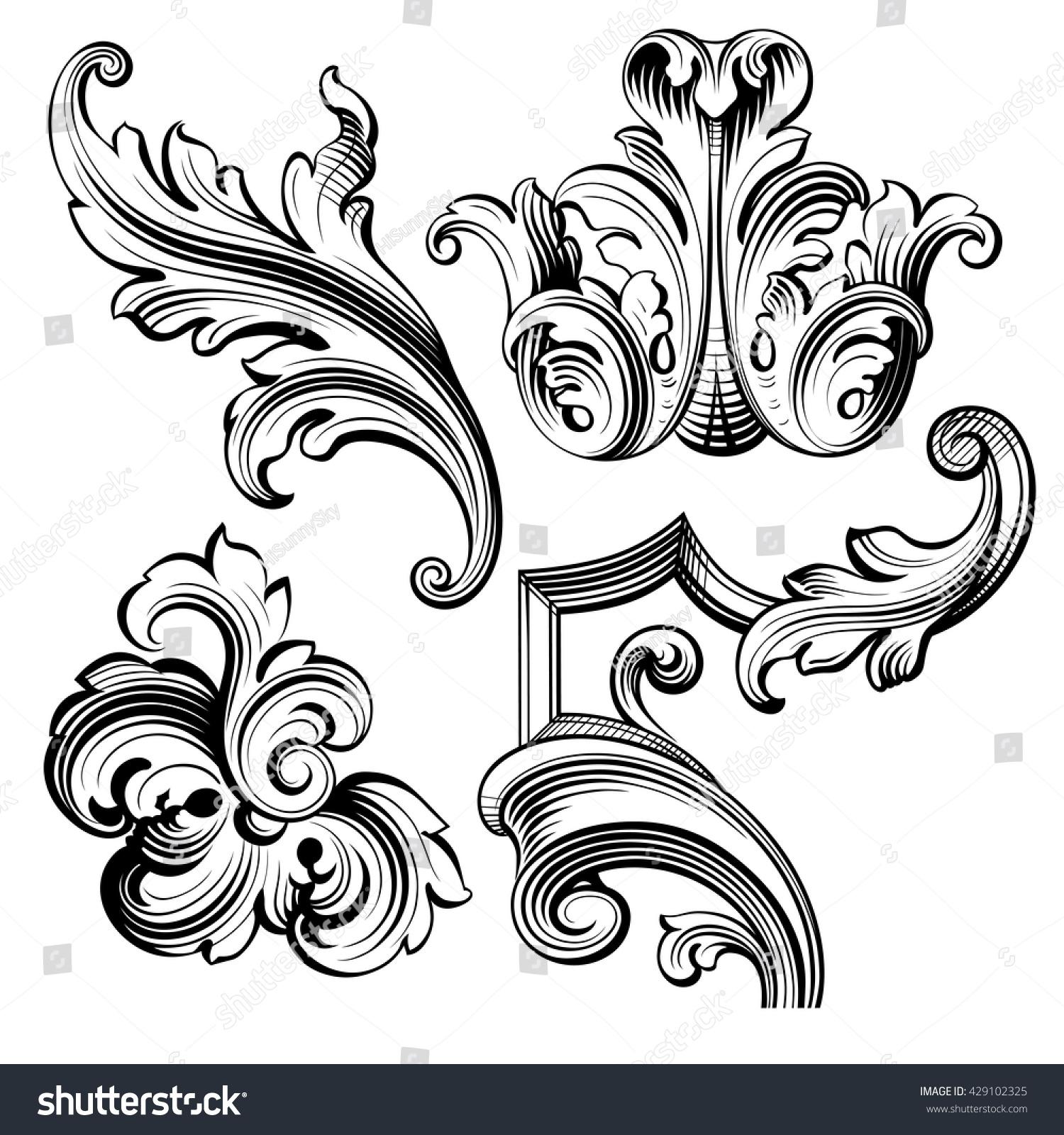 Vintage Baroque Victorian Frame Border Monogram Stock-Vektorgrafik ...