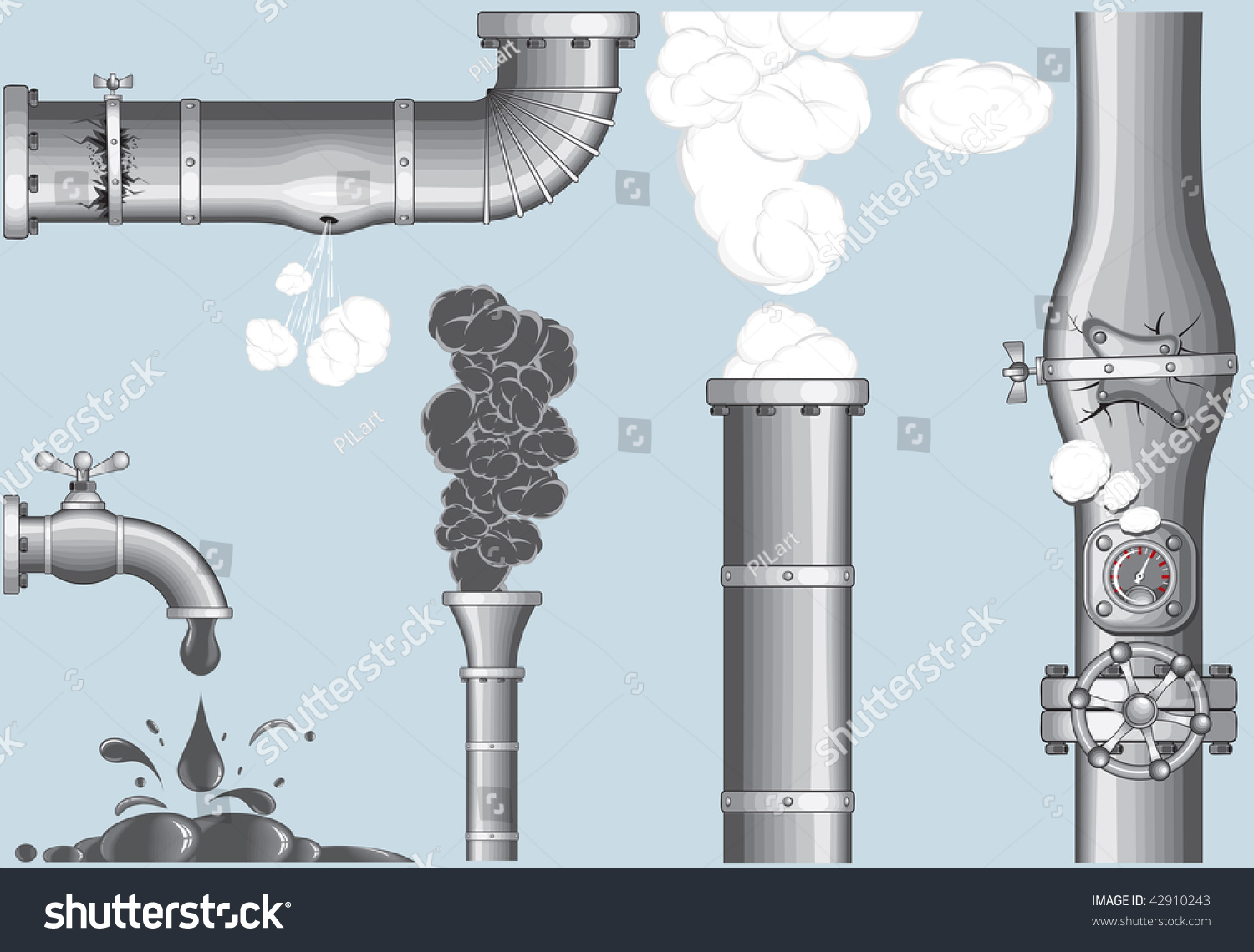 Industrial Elements Chimney Smog Steam Damaged Pipelinecracked Stock ...