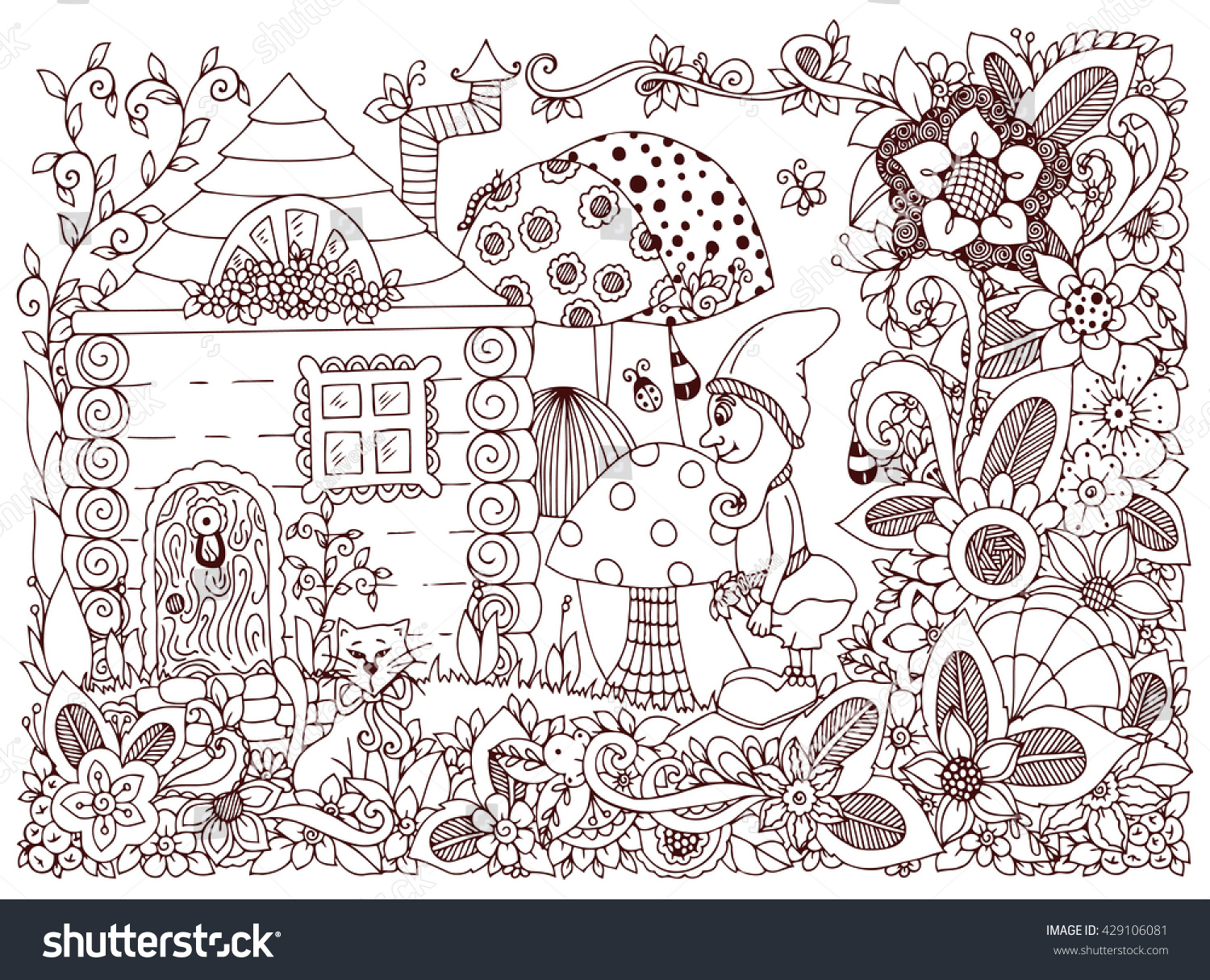 vector illustration zen tangle gnome house stock vector 429106081