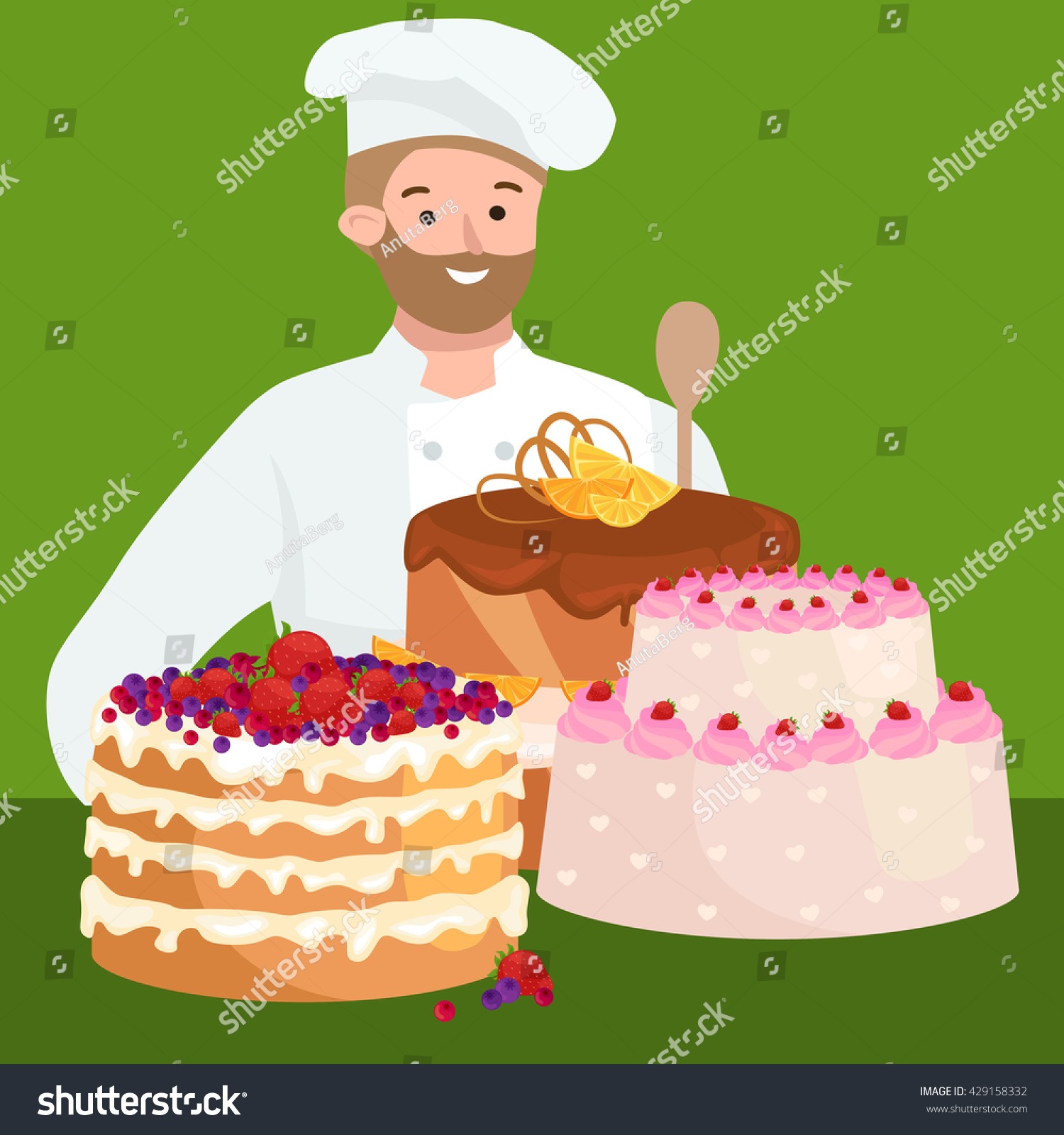 Confectioner Cook Chef Cartoon Character Cake Stock Vector Royalty