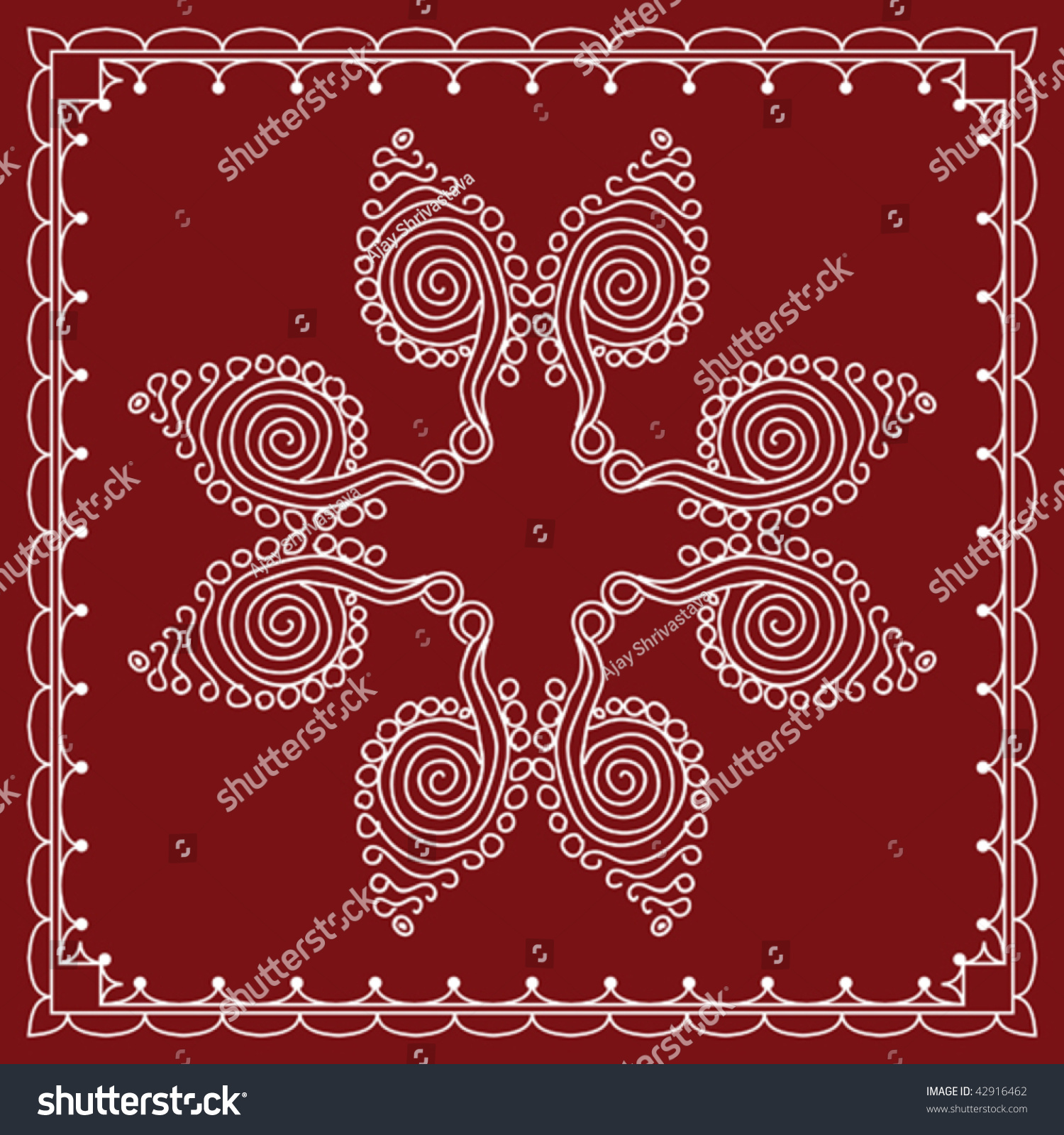 folk tribal designs motif wall painting stock vector illustration 42916462 shutterstock. Black Bedroom Furniture Sets. Home Design Ideas