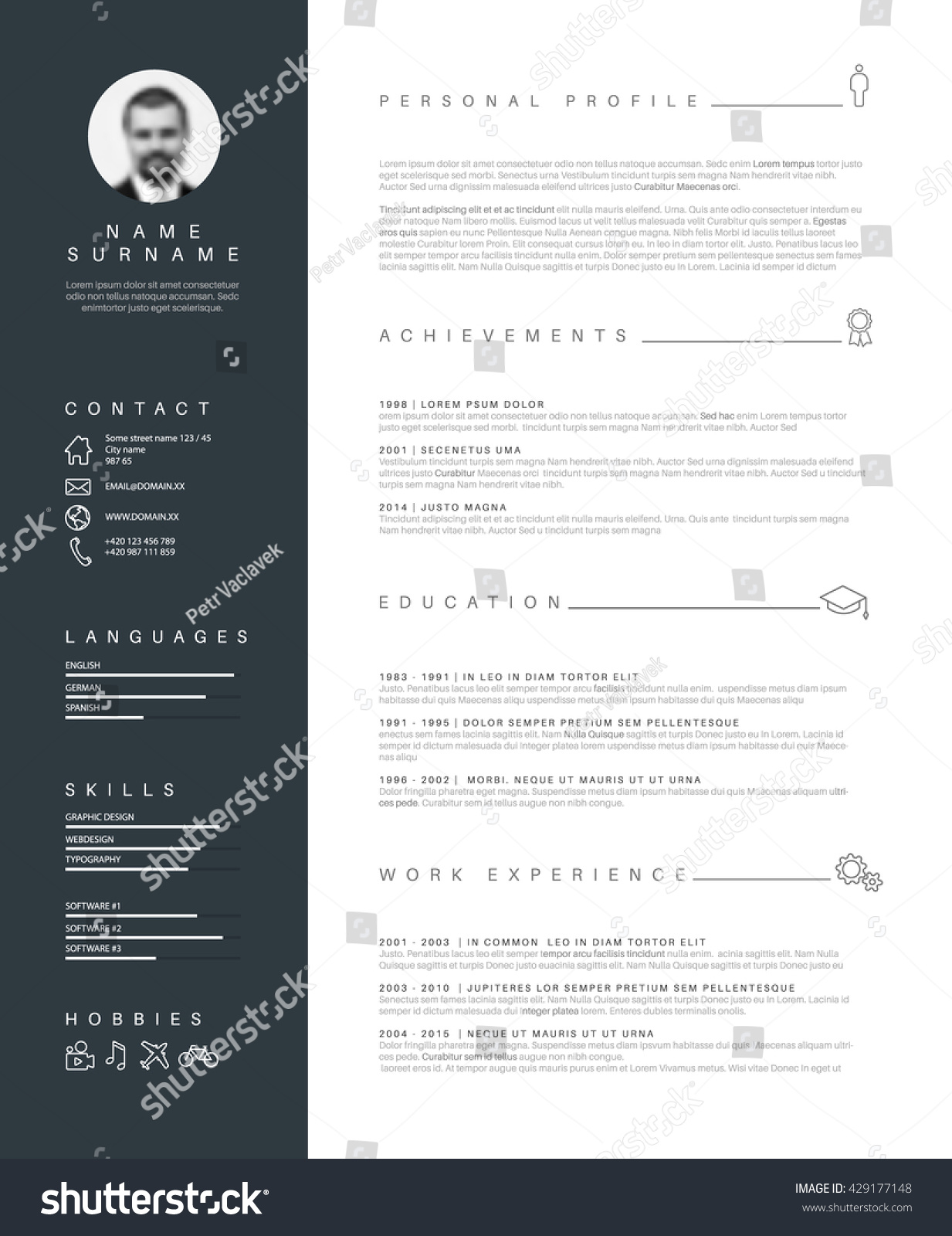 vector minimalist cv resume template nice stock vector 429177148