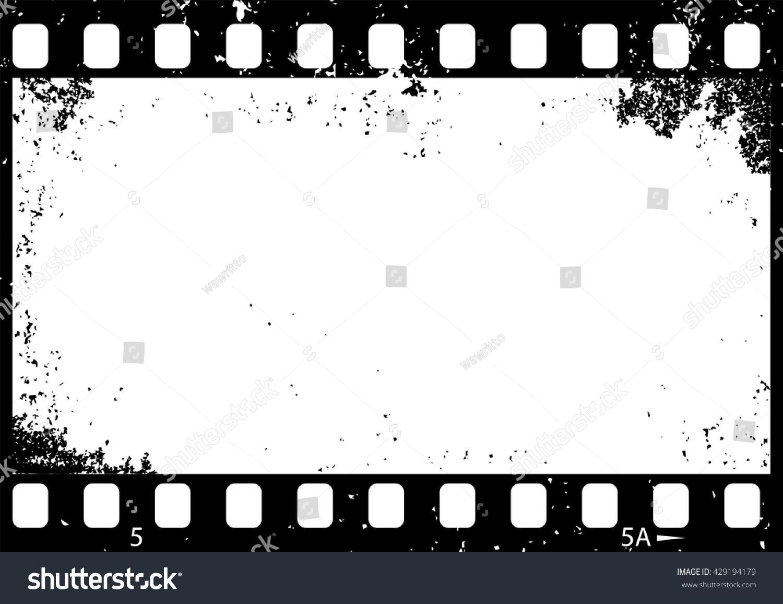 Grunge Black White Film Frame Vector Stock Vector Royalty Free