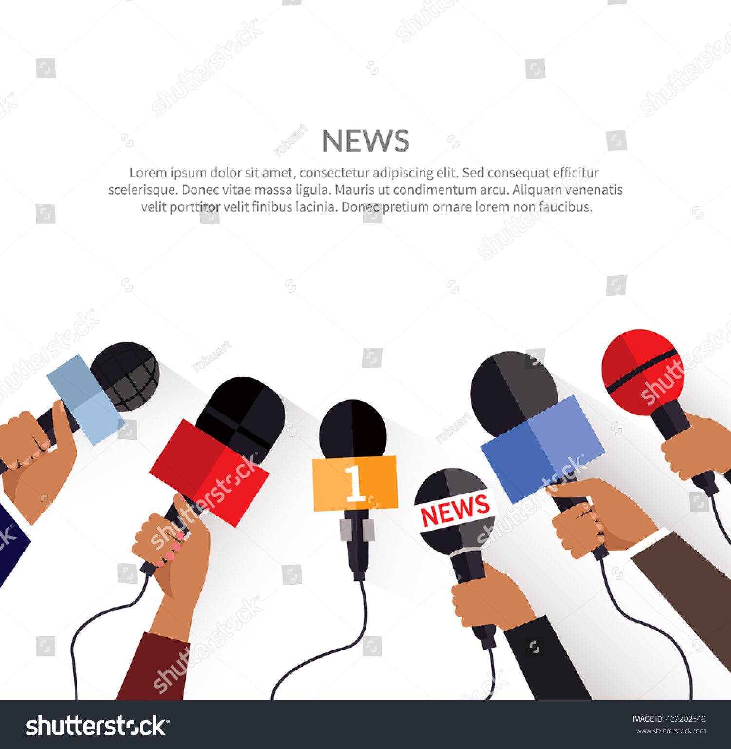 news banner poster template flat set stock vector  news banner poster template flat set of microphone media tv and interview information