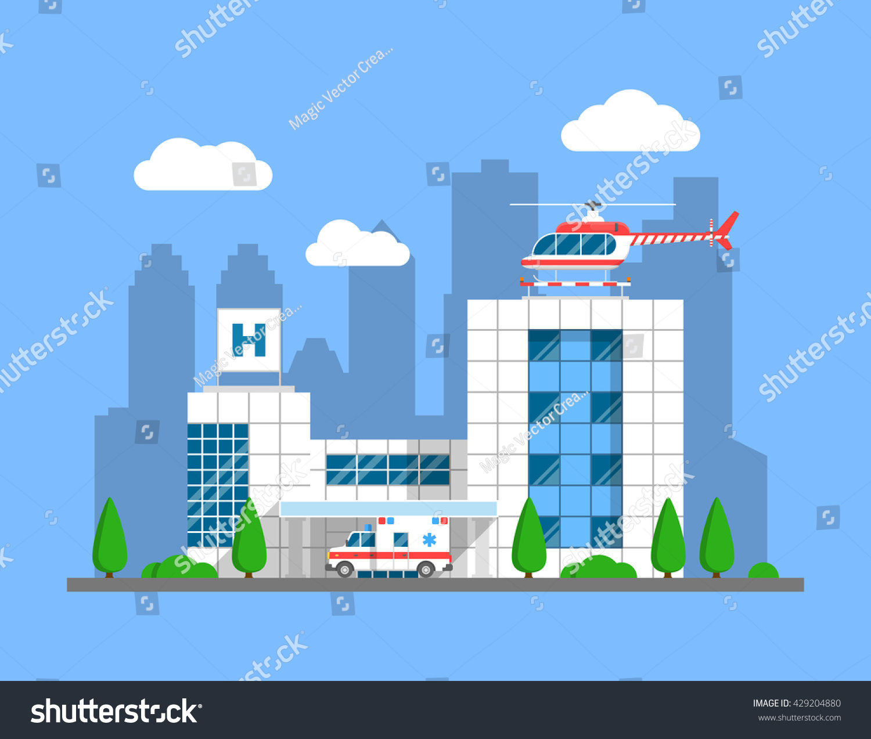 Modern hospital building helicopter ambulance cityscape for Modern hospital building design