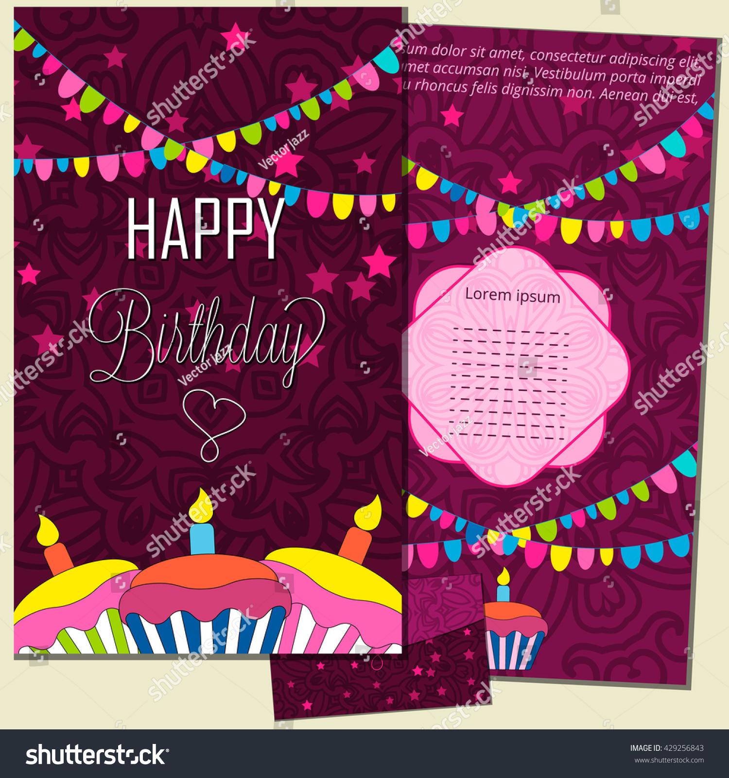 Set happy birthday vector cards envelope stock vector 429256843 set happy birthday vector cards and envelope on decorated background happy birthday template stopboris Images