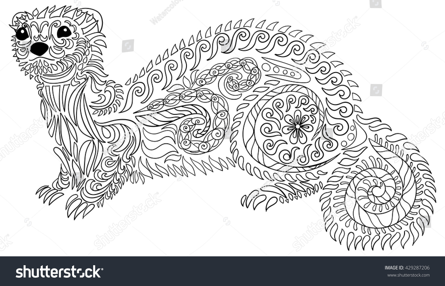 Adult Coloring Page Antistress Art Therapy Stock Vector