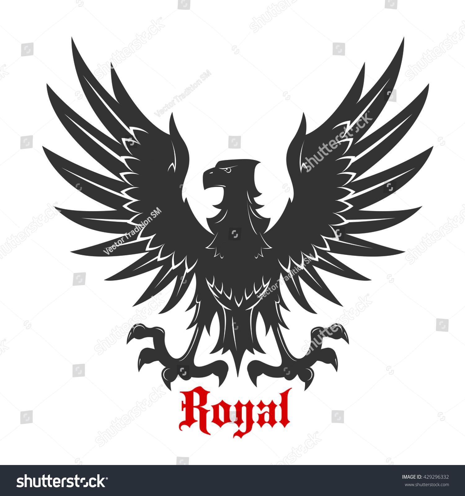 Black Eagle Royal Heraldic Symbol Medieval Stock Vector Royalty